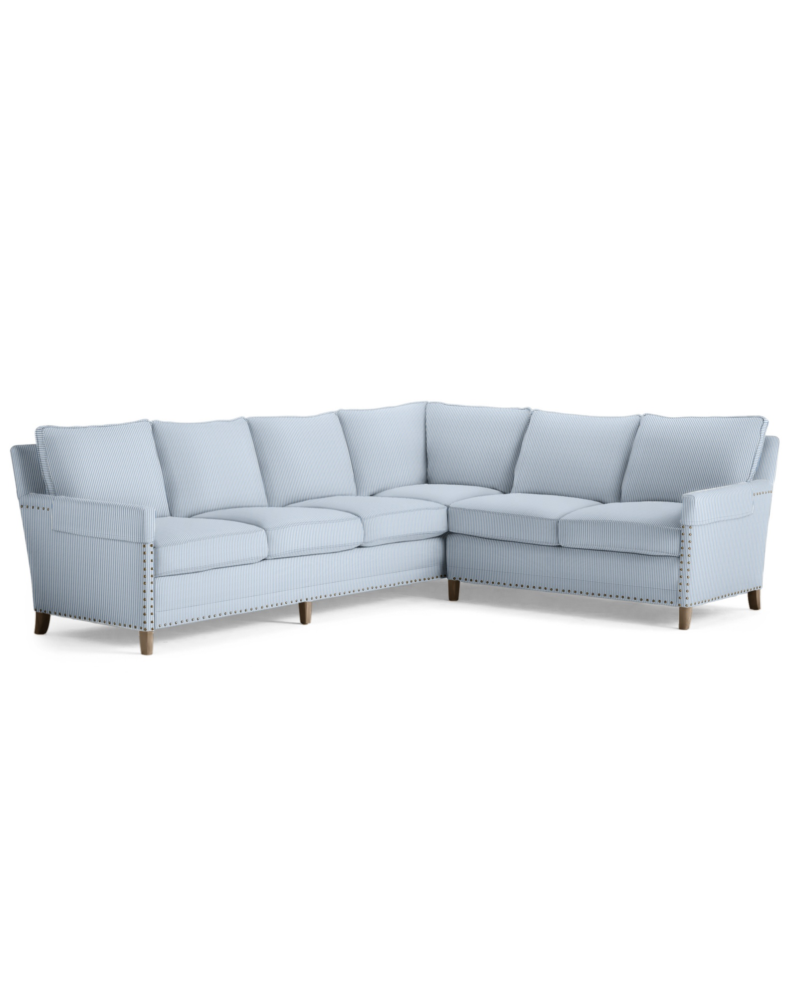 Spruce Street L-Sectional - Right Facing - Perennials Pinstripe French Blue,
