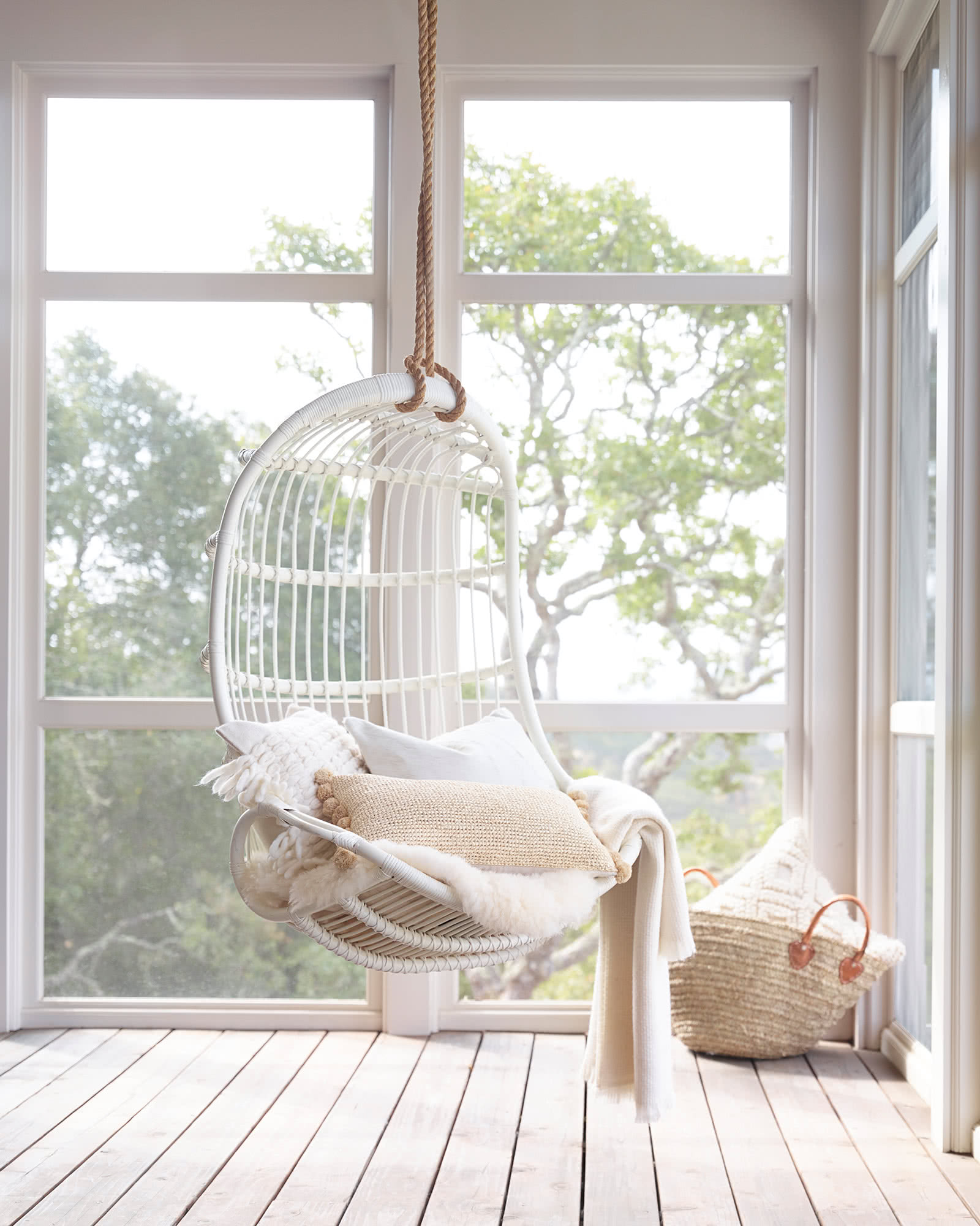 White hanging chair - Serena & Lily