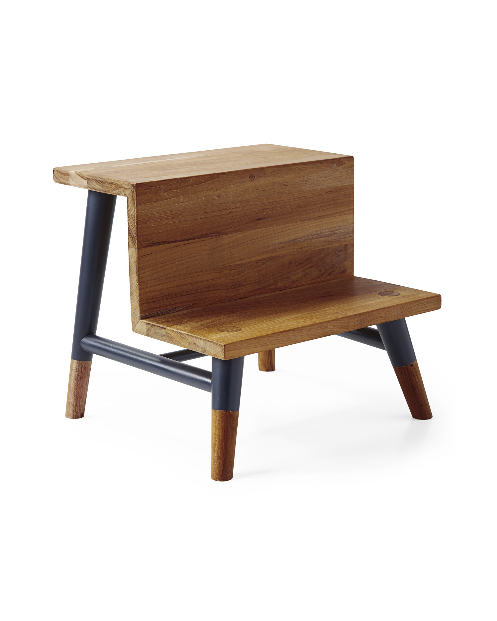 Teak Step Stool, Navy