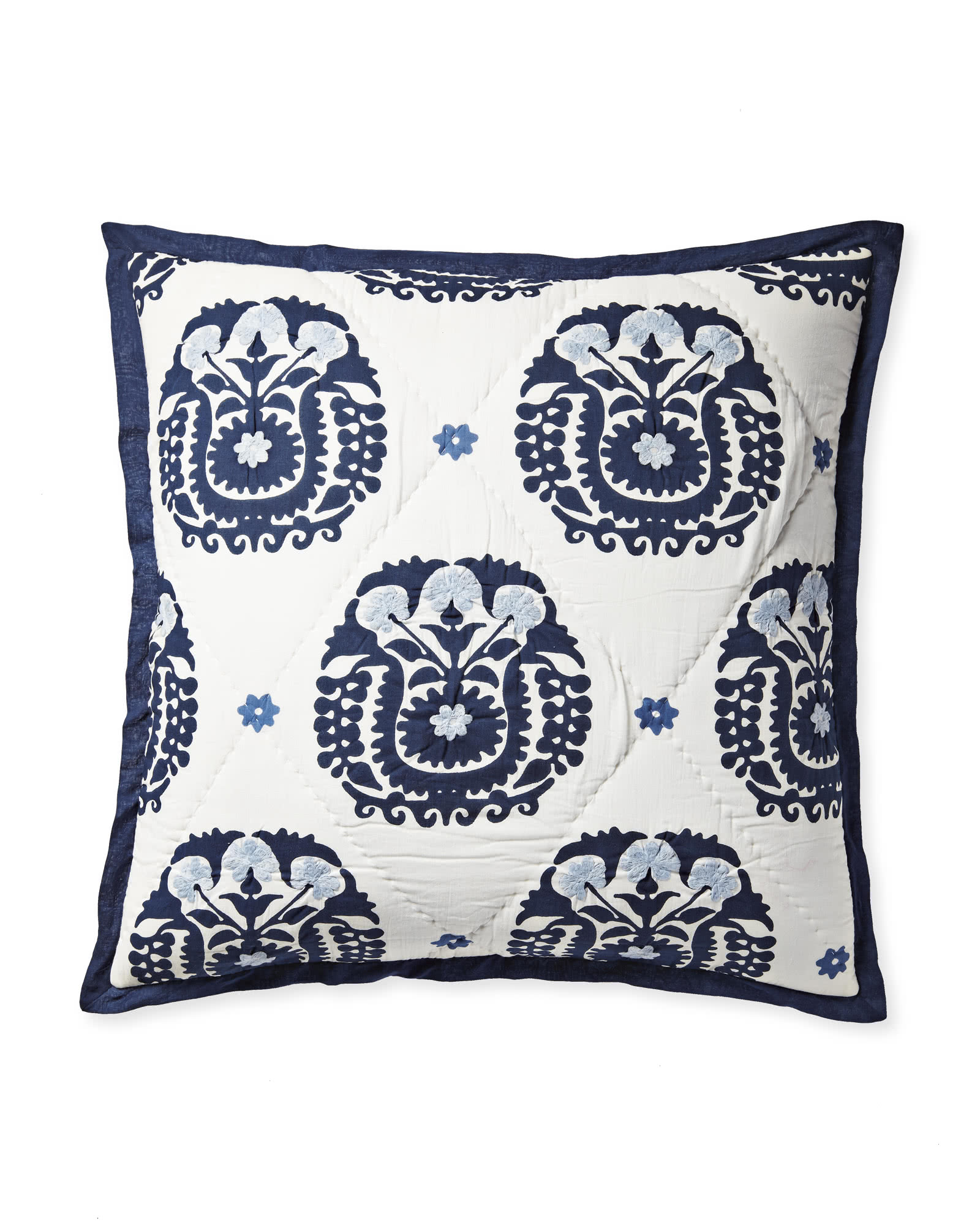Suzani Quilted Shams, Navy