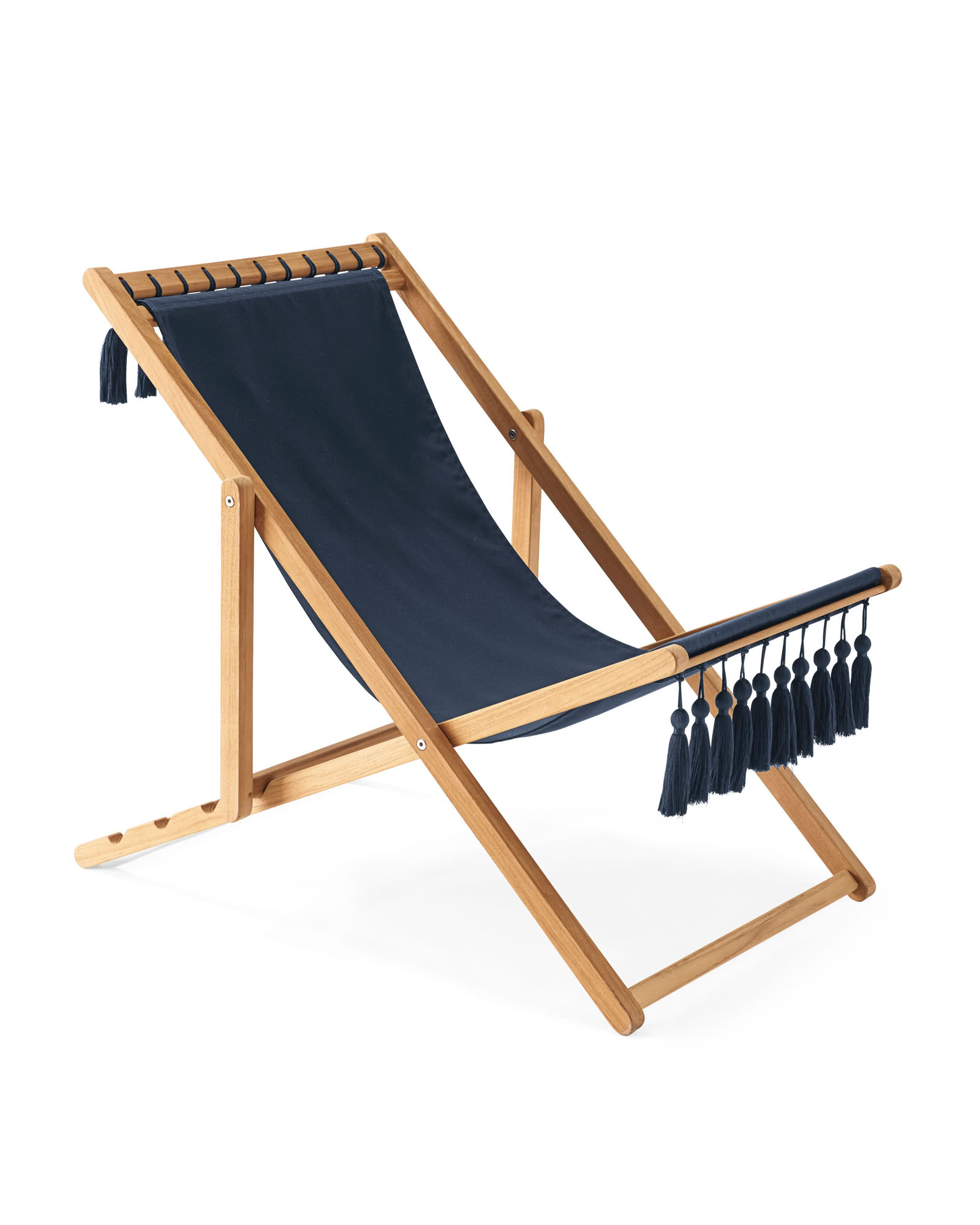 Sling Chair with Tassels, Navy