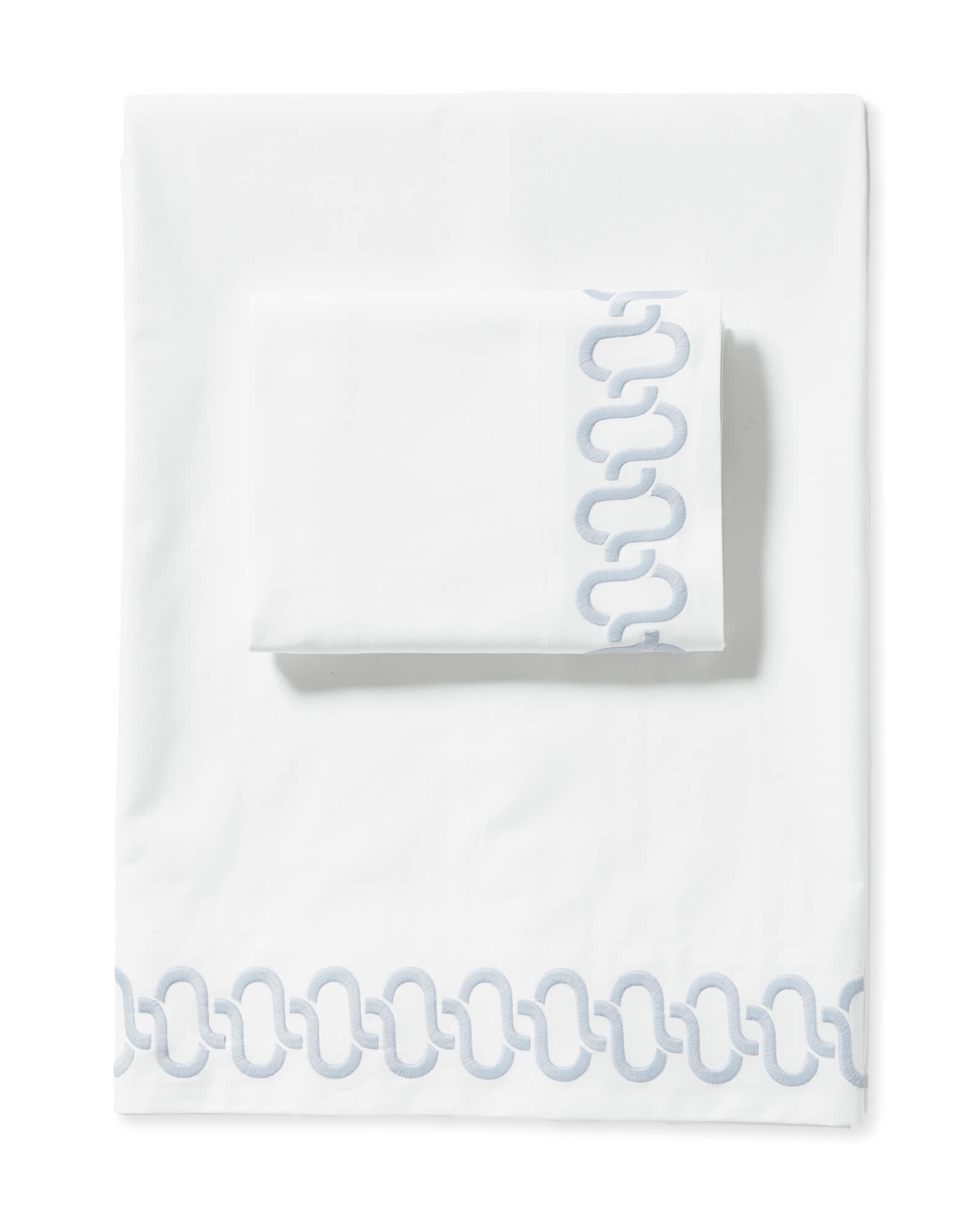 Savoy Embroidered Sheet Set, Sky