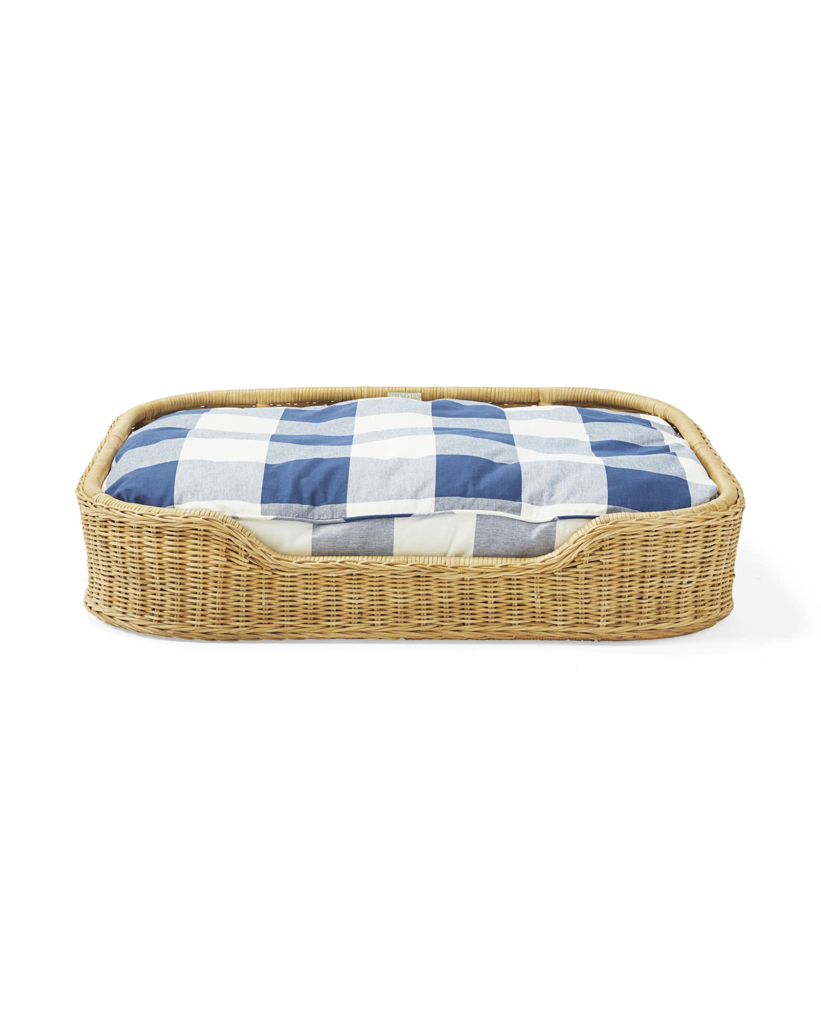 Fisher Dog Bed, Navy Gingham