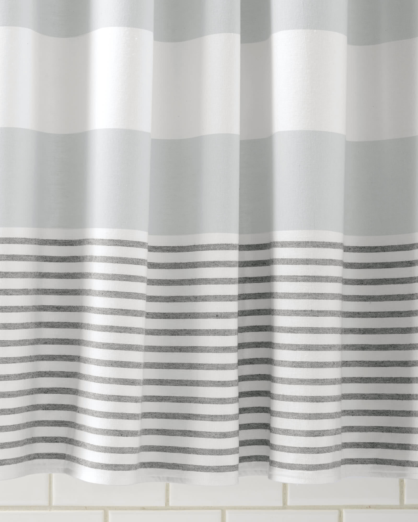 Fouta Shower Curtain, Pewter