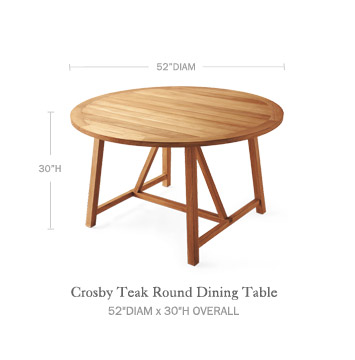 Crosby Teak Round Dining Table Serena Amp Lily