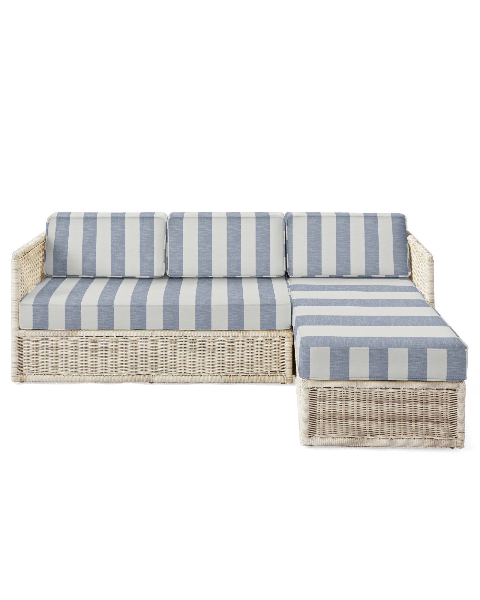 Cushion Cover for Pacifica Chaise Sectional, Beach Stripe Navy