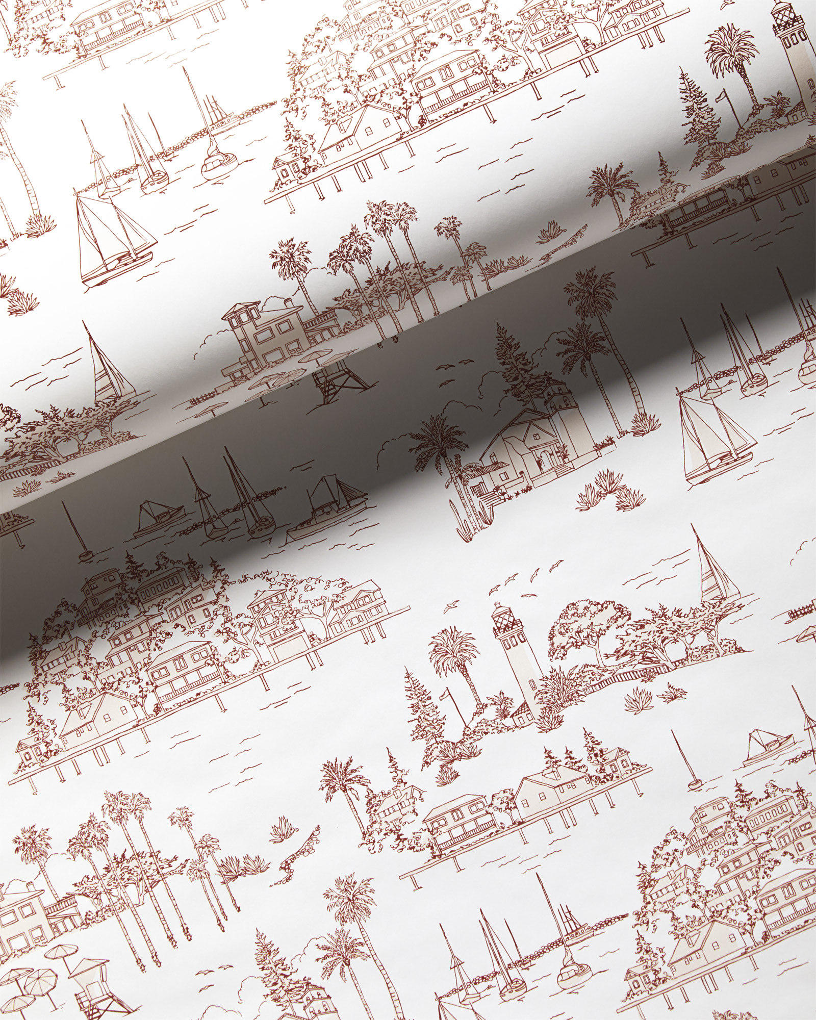 Seahaven Toile Wallpaper - Terracotta,
