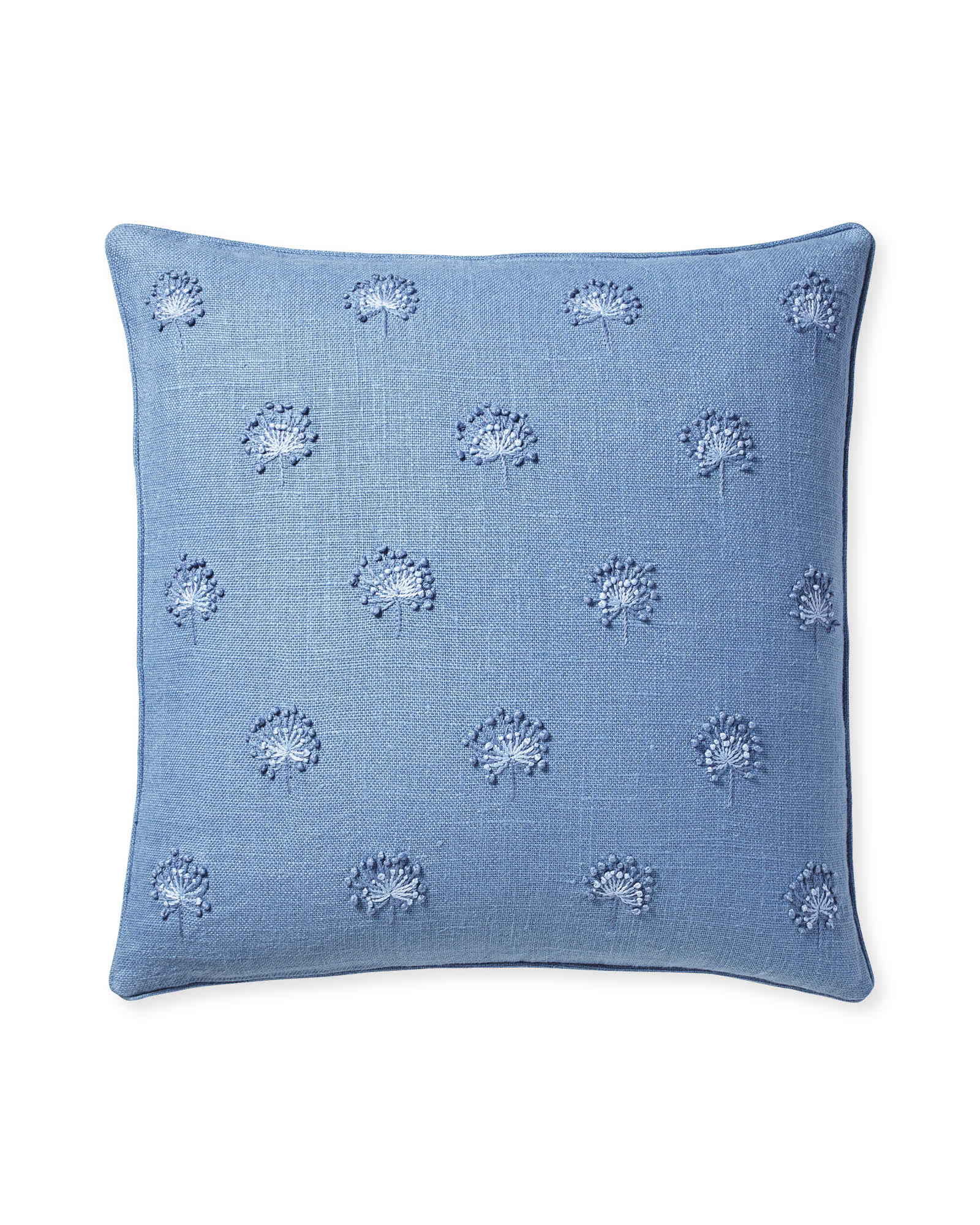 Dandelion Embroidered Pillow Cover, Harbor