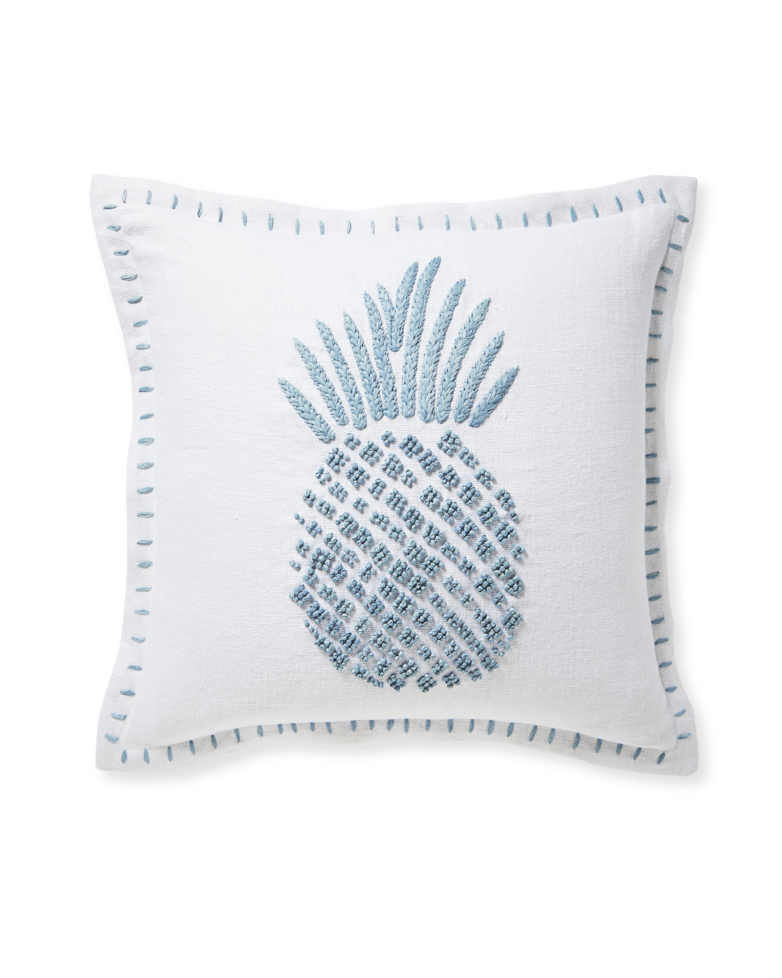 Isla Embroidered Pillow Cover, Coastal Blue