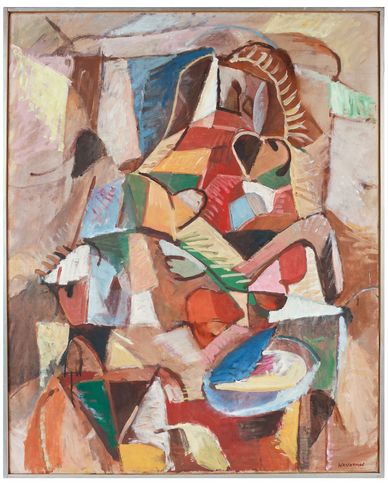 """Cubist Figure & Still Life Abstraction"" by Gerald Wasserman,"