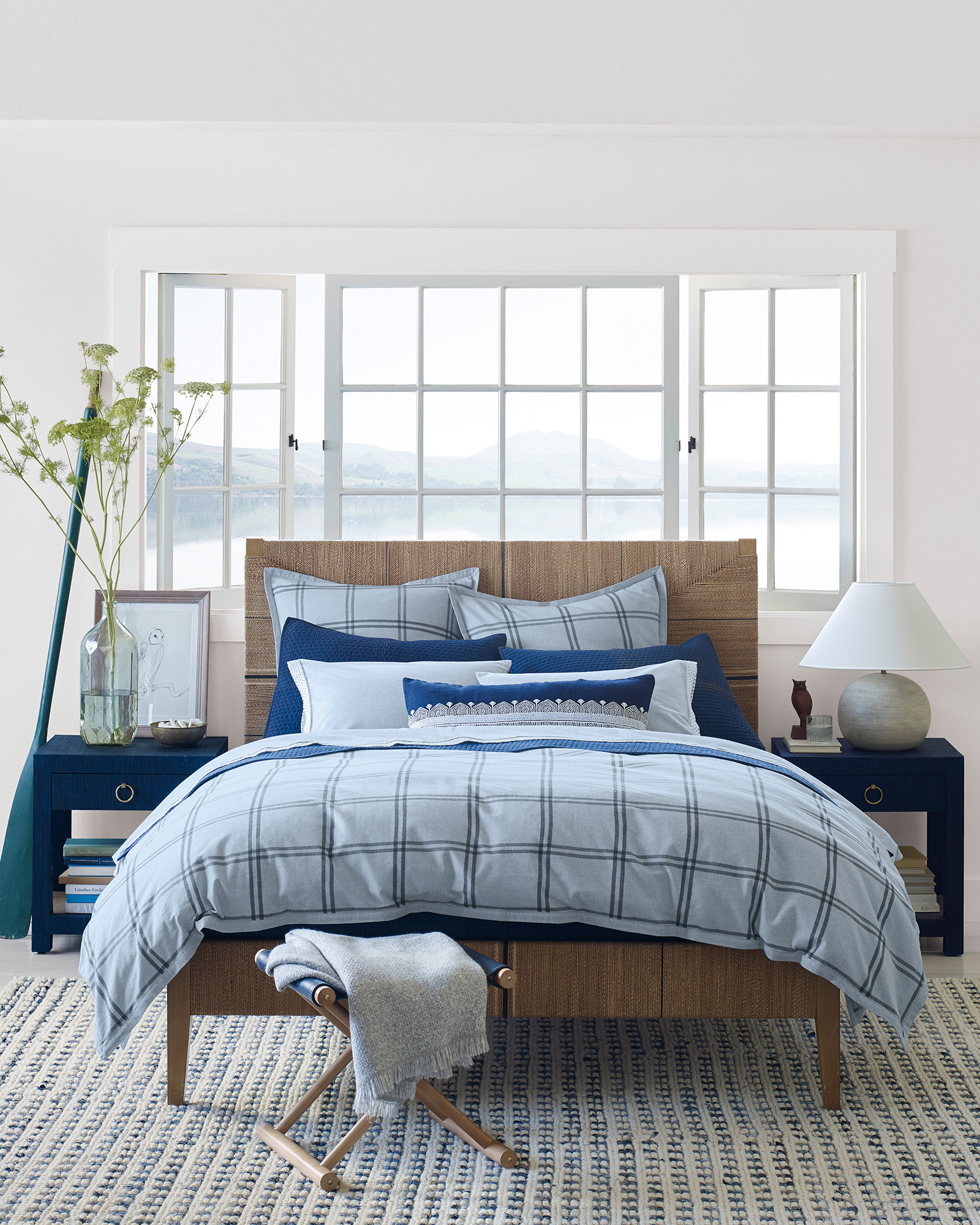 Classic coastal bedroom with blue windowpane plaid bedding - Serena & Lily.