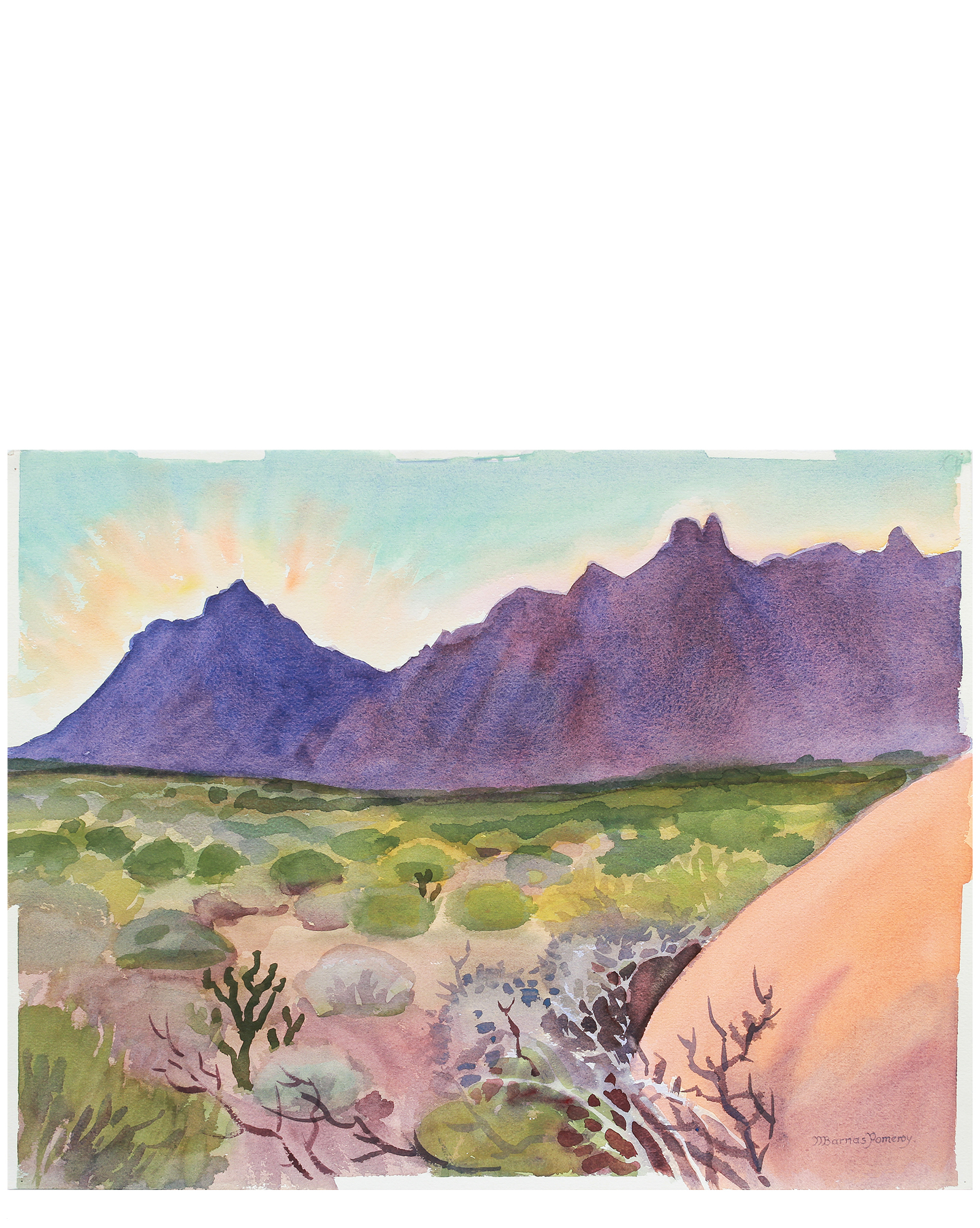 """""""Granite Mountains at Sunset"""" by Mary Pomeroy,"""