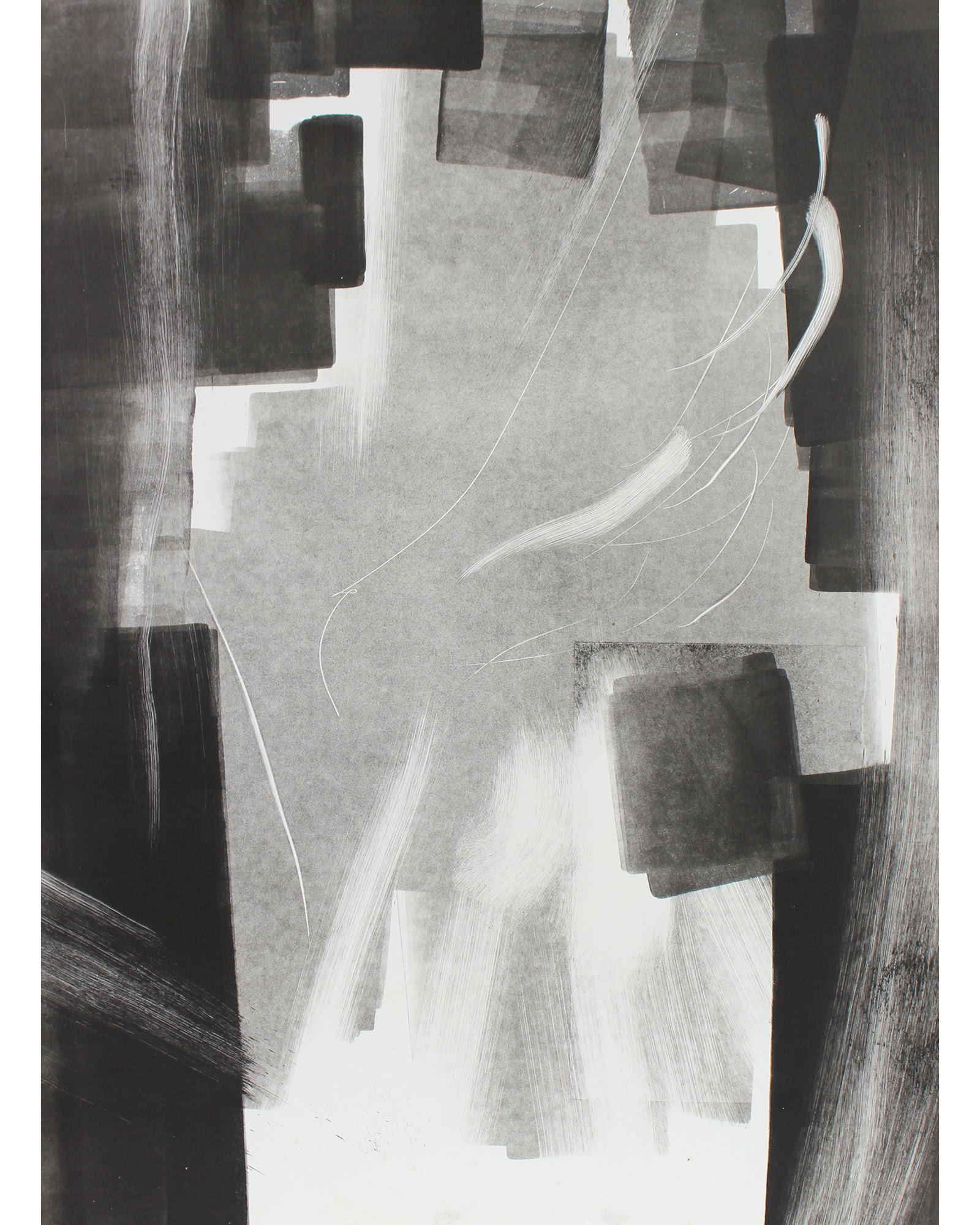 """Abstract Monotype in Black & White"" by Calvin Anderson,"