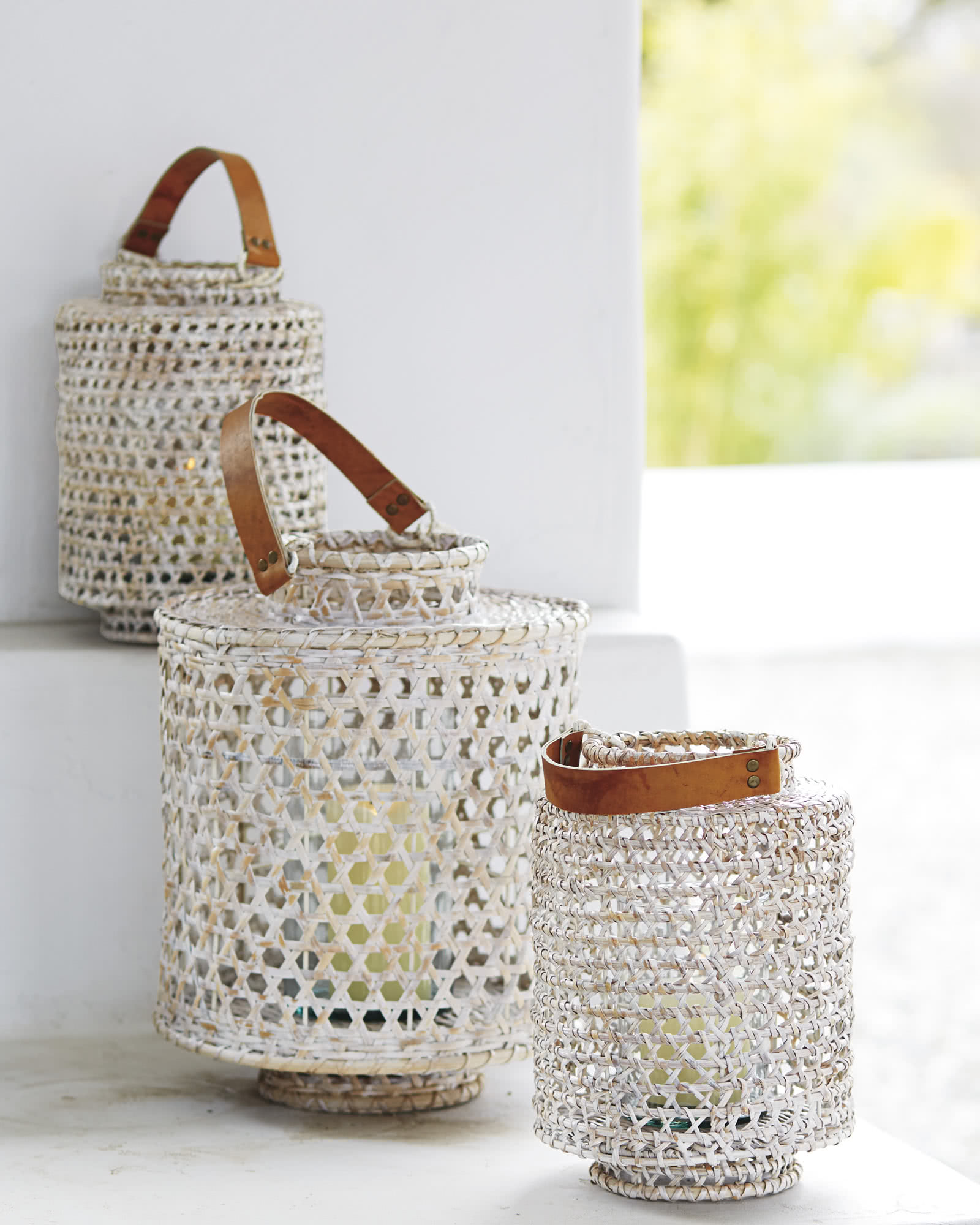 Whitewashed Rattan Hurricane