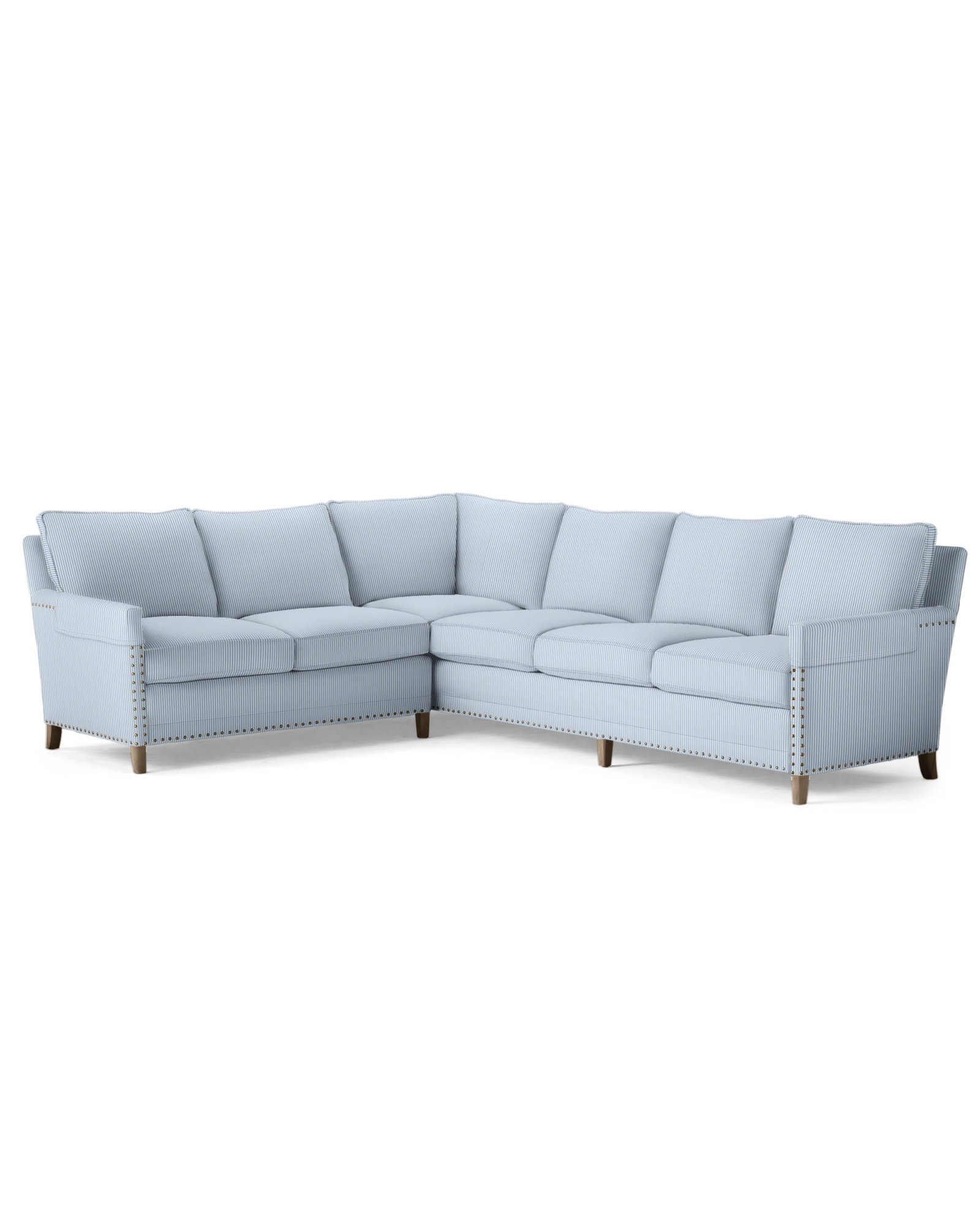 Spruce Street L-Sectional - Left-Facing - Perennials® French Blue Pinstripe,