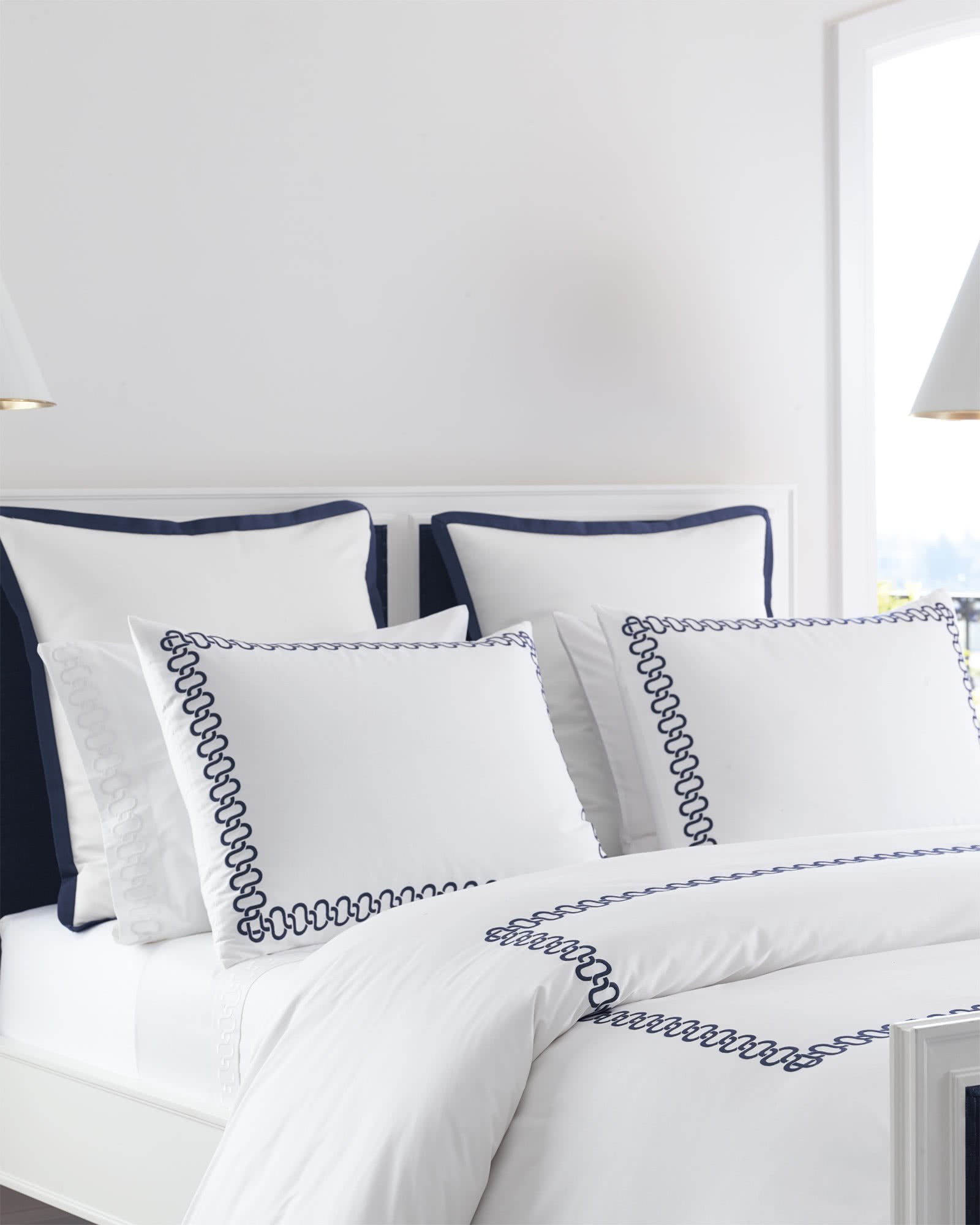 Savoy Embroidered Duvet Cover, Navy