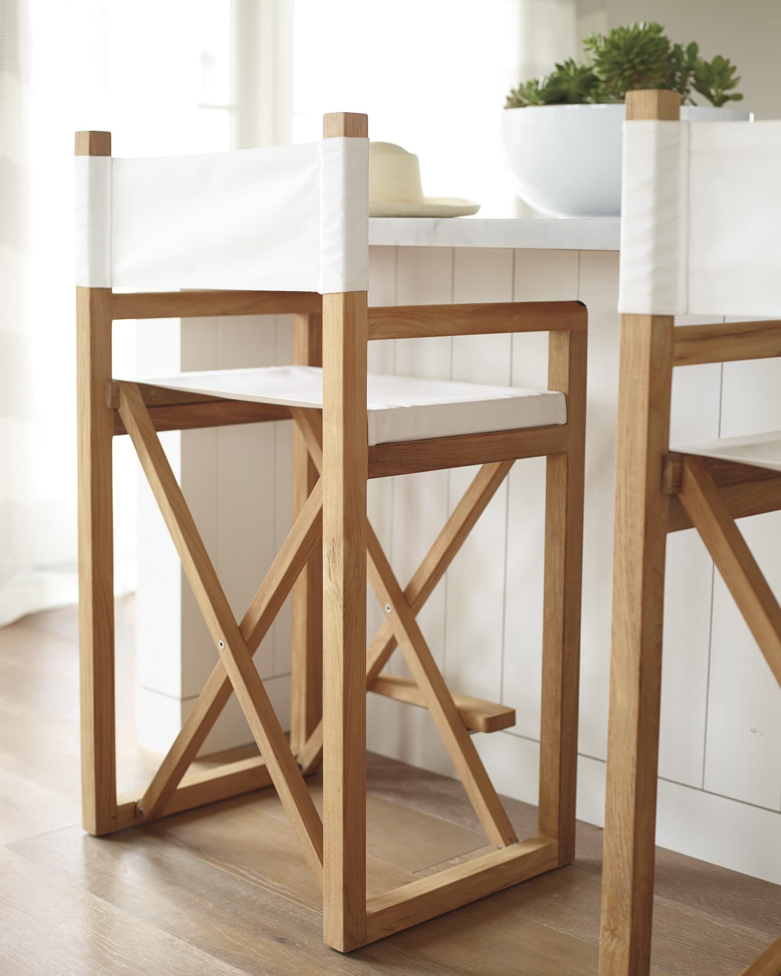 Director's Counter Stool - White Canvas,