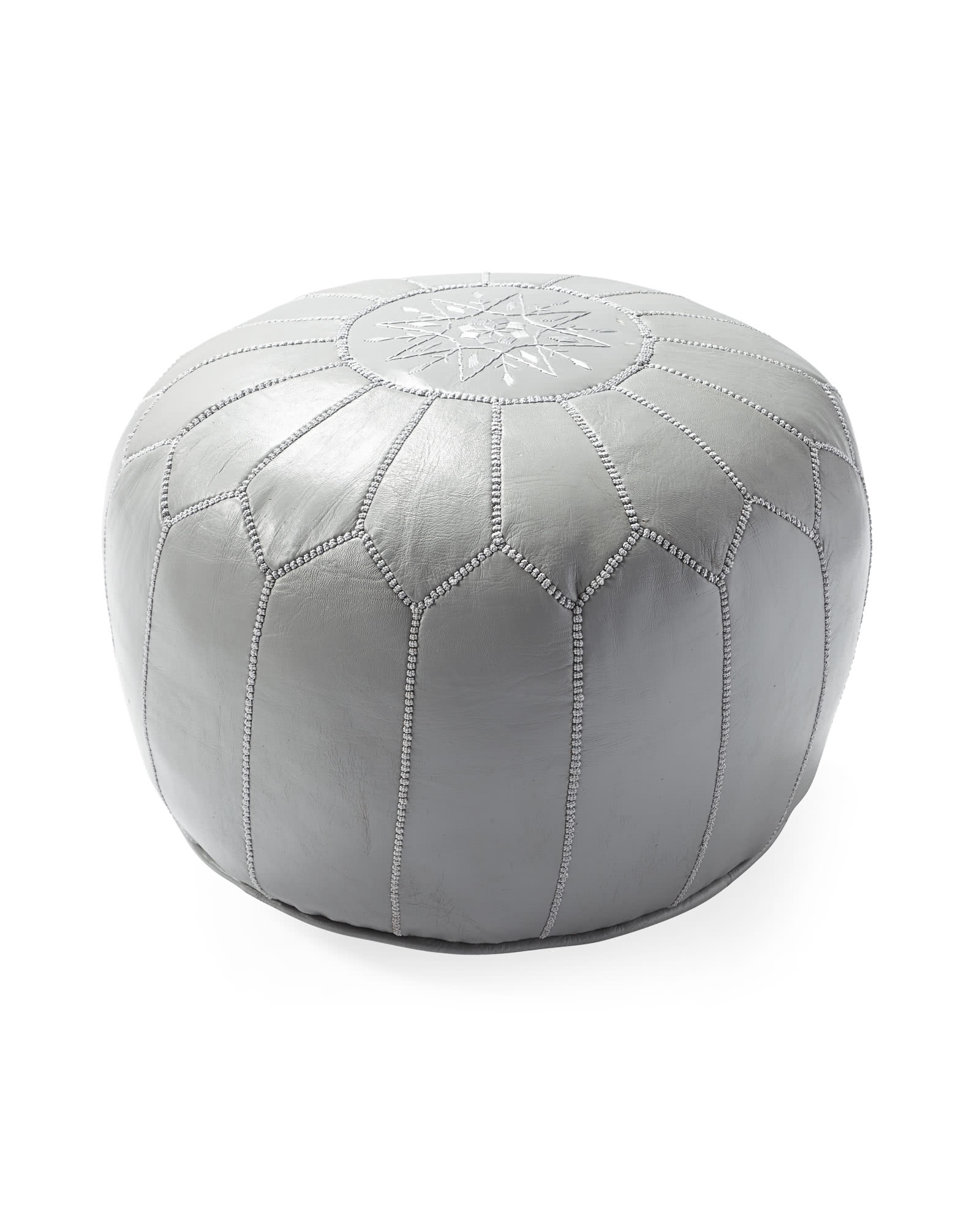 Moroccan Leather Pouf - Grey,