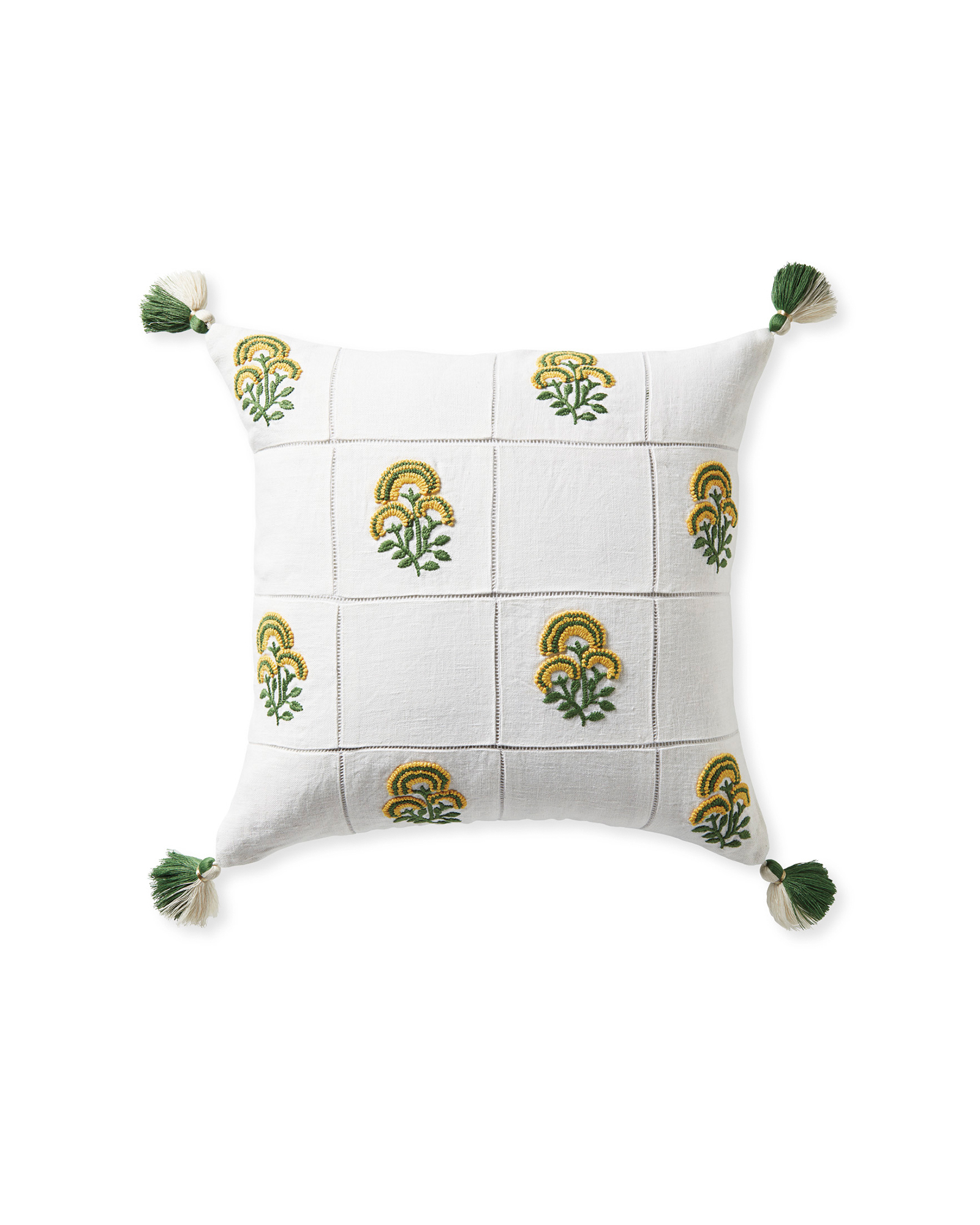 Cortina Pillow Cover, Moss/Sunflower