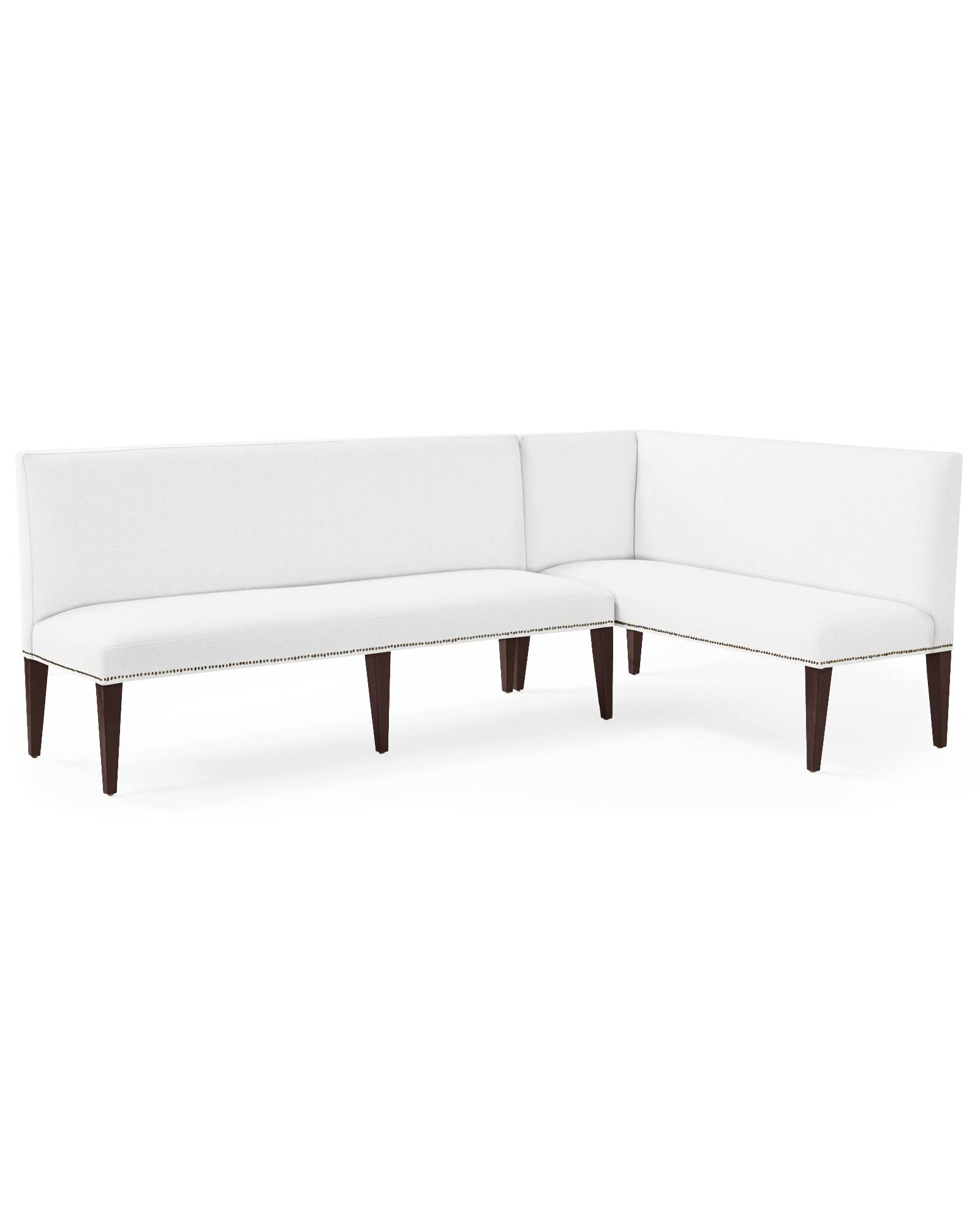 Ross Right-Facing Dining Banquette with Nailheads,