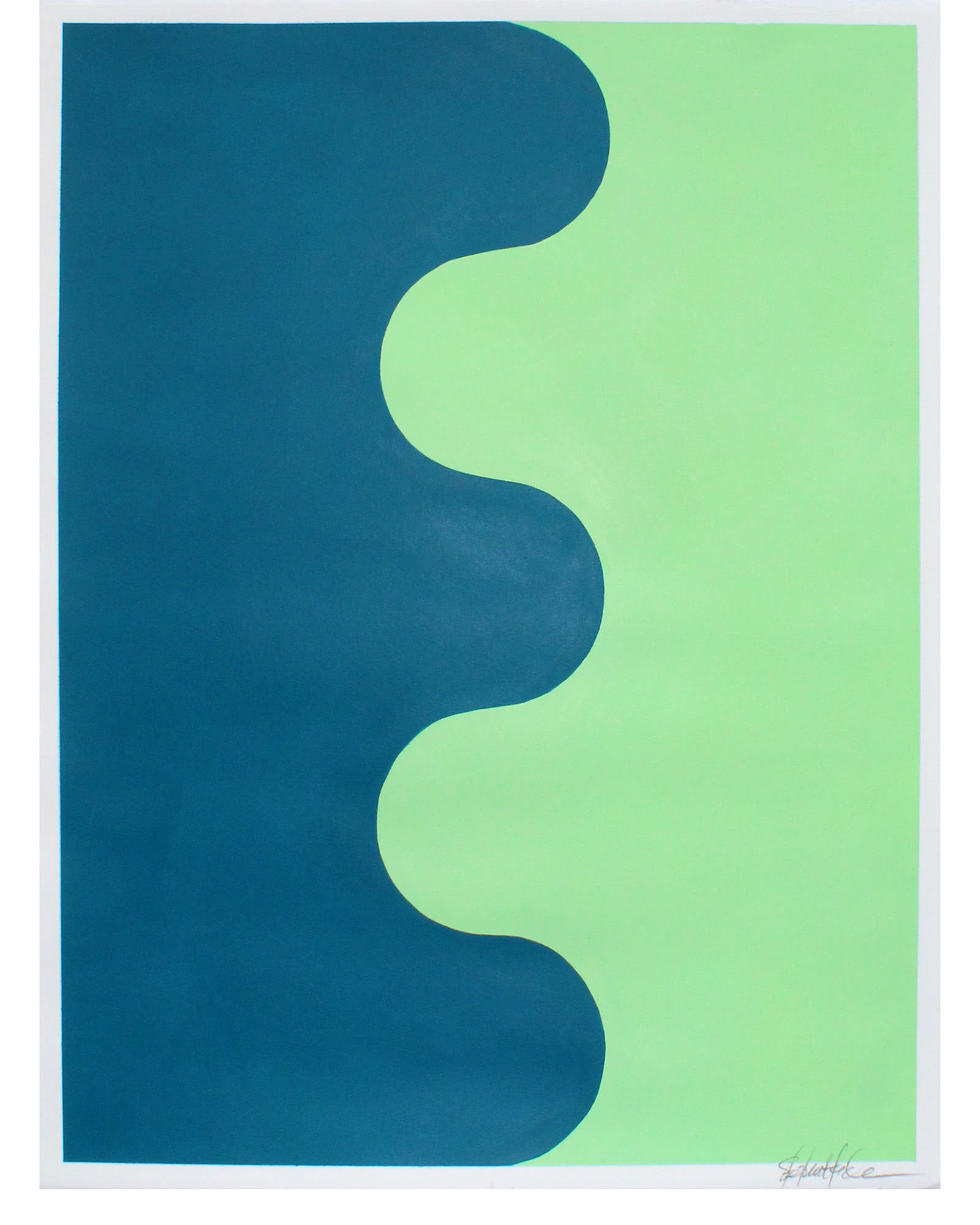 """""""Hairpin Serpentine in Deepwater Blue and Warmwater Green"""" by Stephanie Henderson,"""