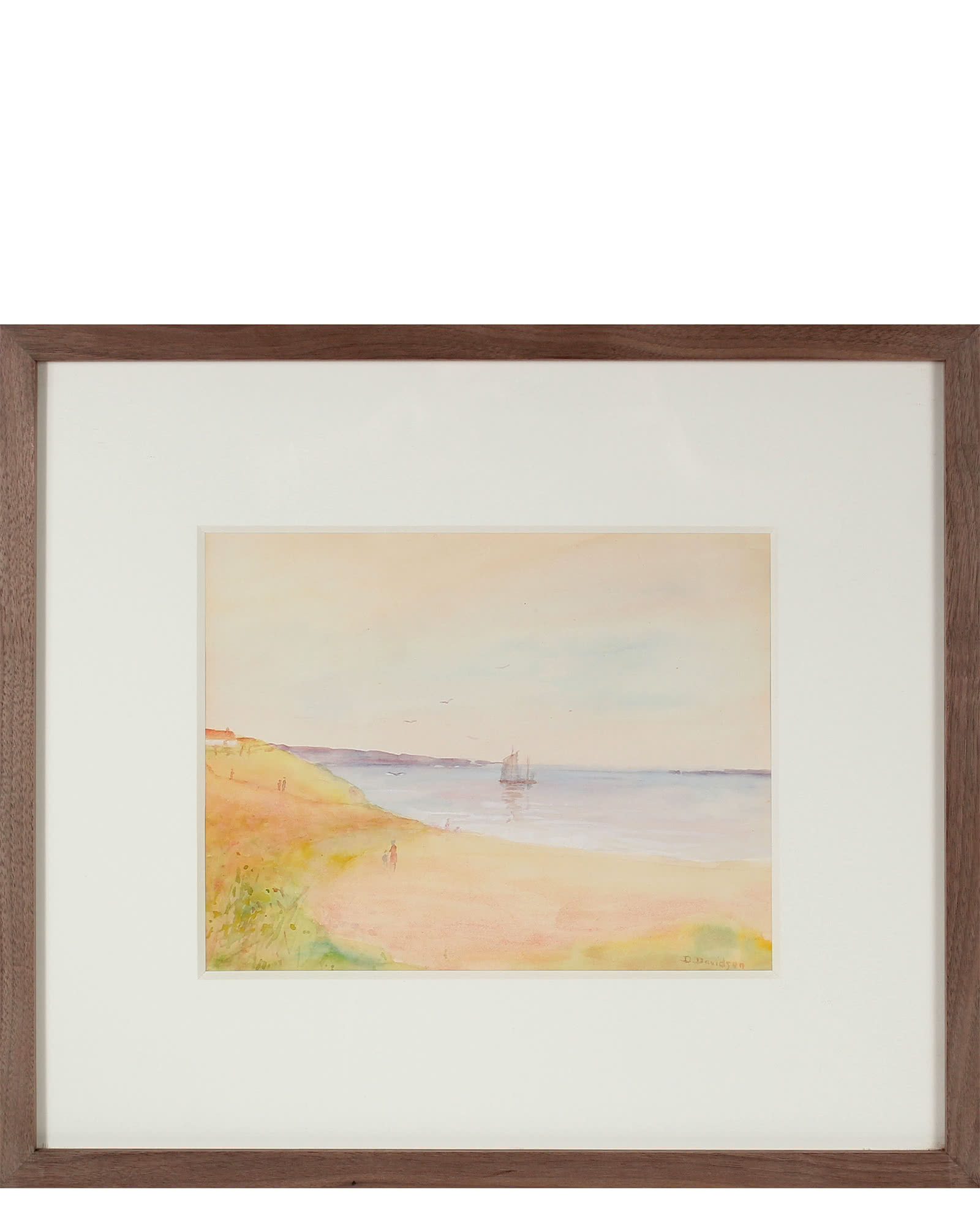 """Dreamy Coastal Scene with Boat"" by Duncan Davidson,"