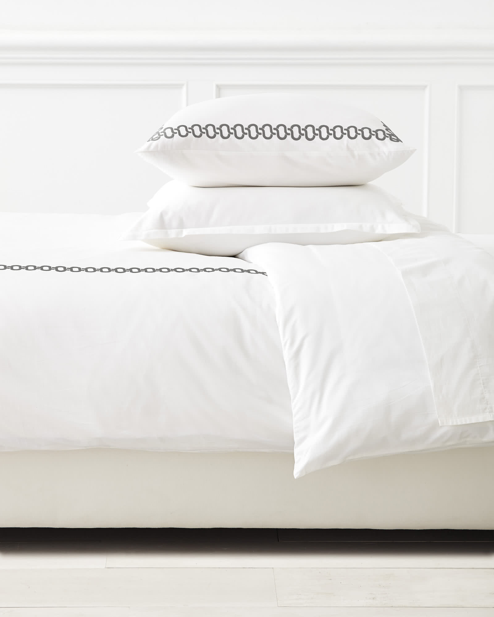 Savoy Embroidered Duvet Cover, Pewter