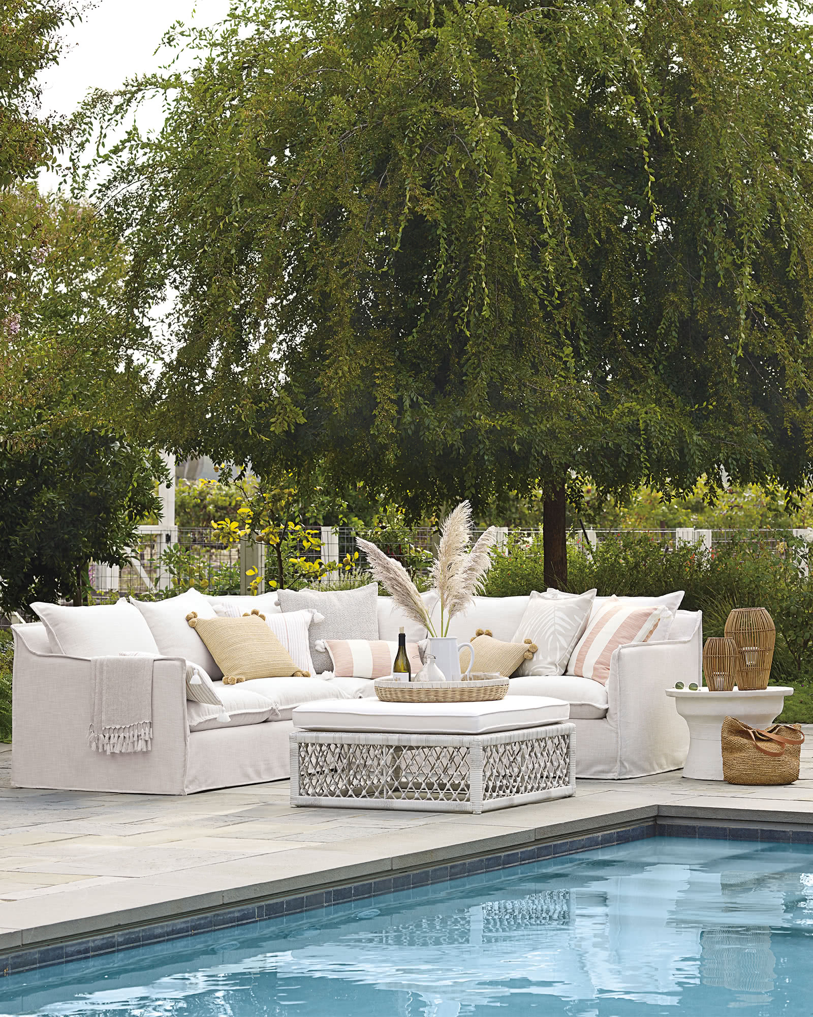 Sundial Outdoor Slipcovered Sectional - Left-Facing,