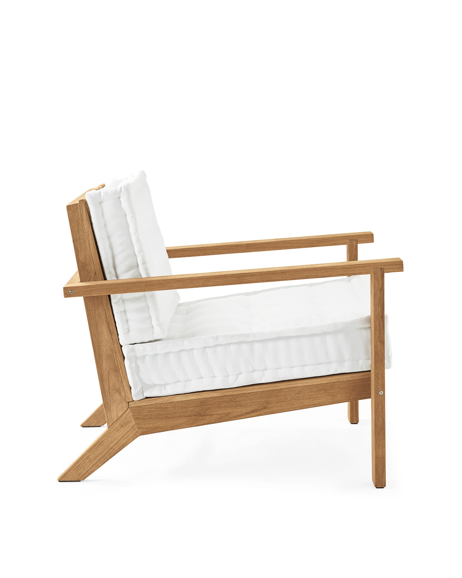 Cliffside Teak Lounge Chair, White Cushion
