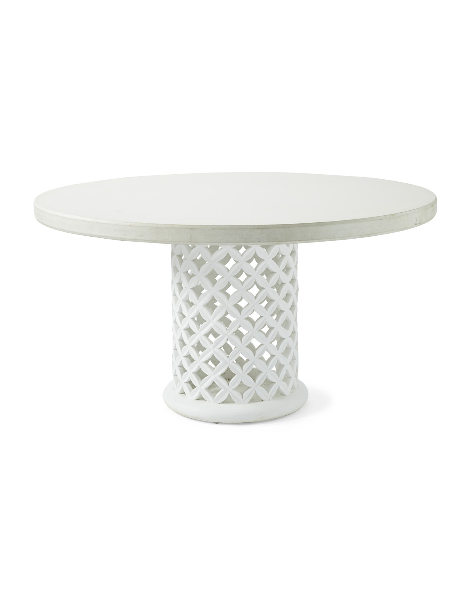 Bamileke Round Dining Table, White/White