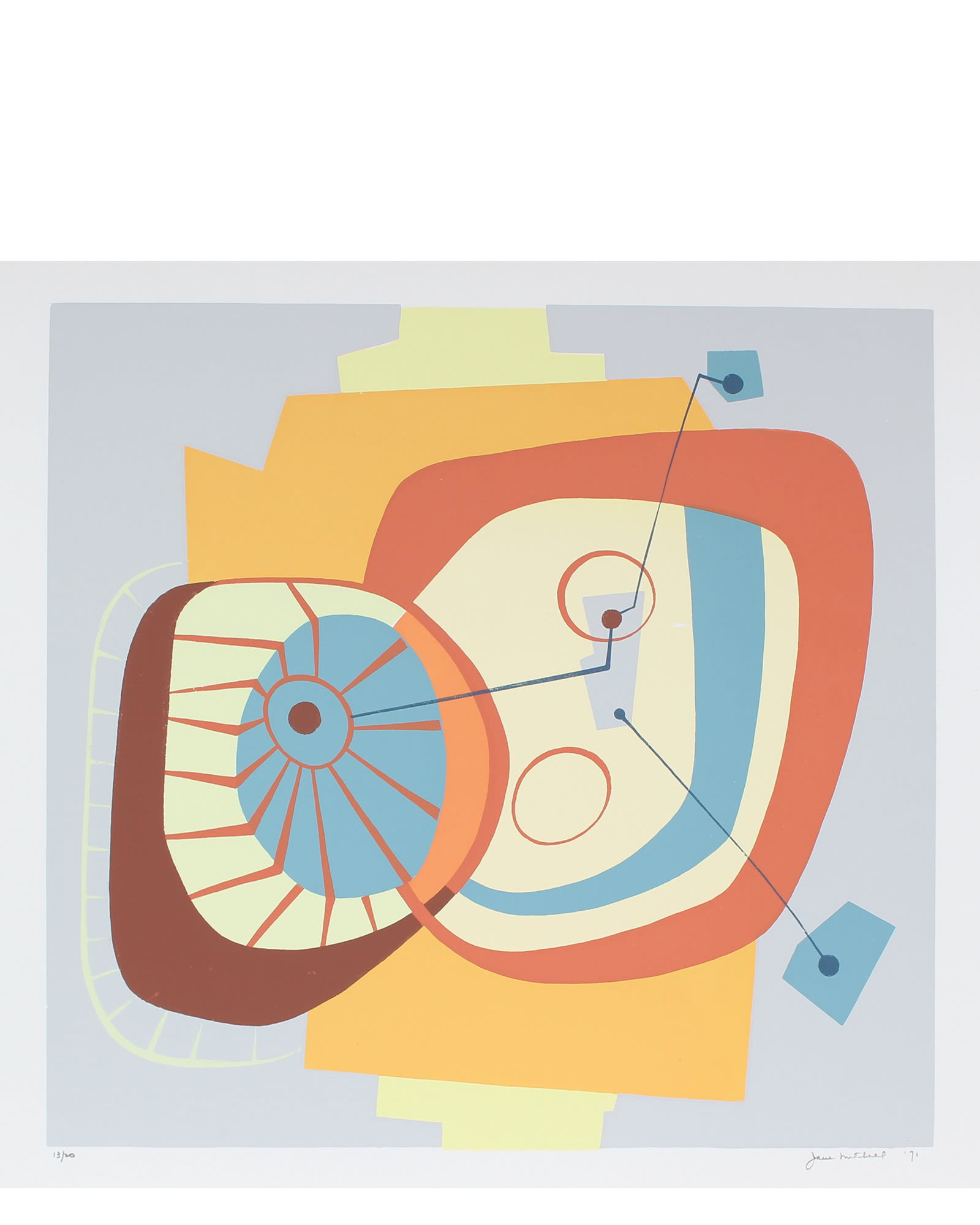 """""""1971 Serigraph on Paper Abstract"""" by Jane Mitchell,"""