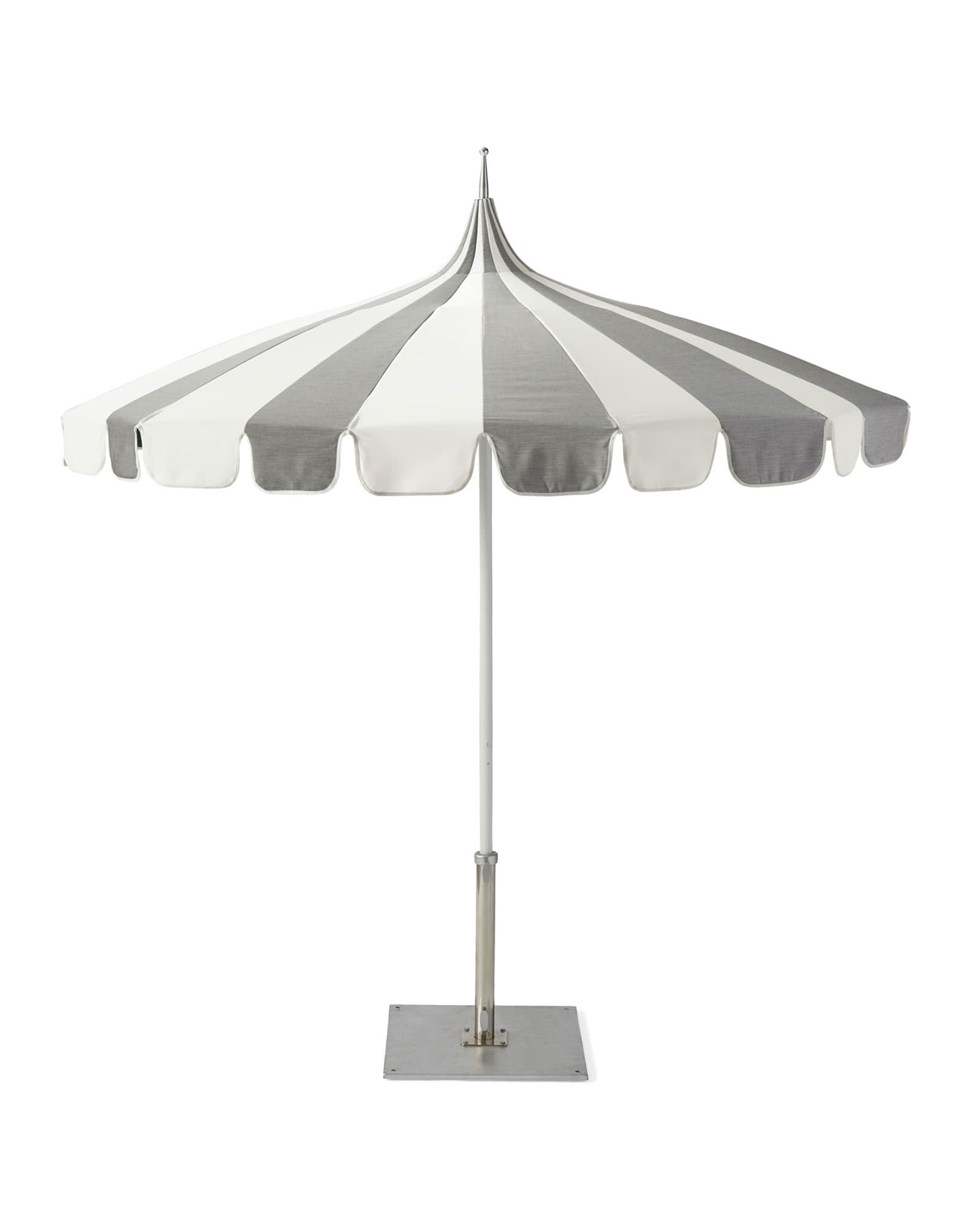 Eastport Striped Umbrella, Grey/White