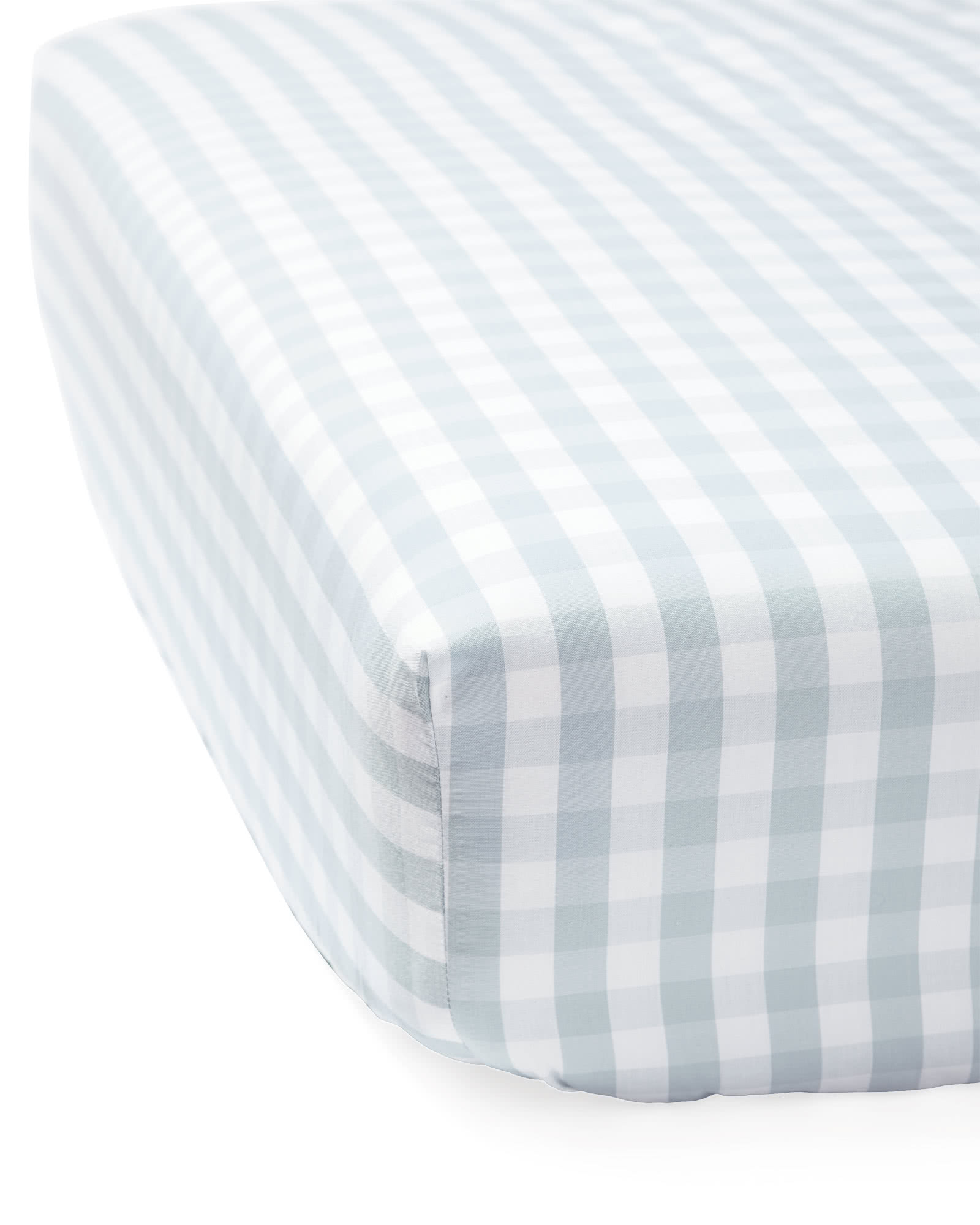Gingham Crib Sheet, Sky