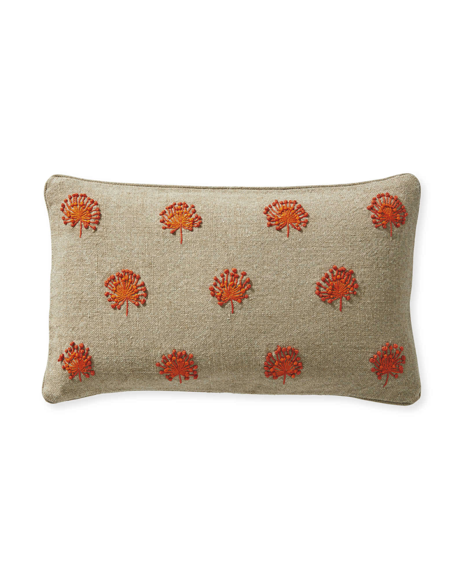 Dandelion Embroidered Pillow Cover, Papaya