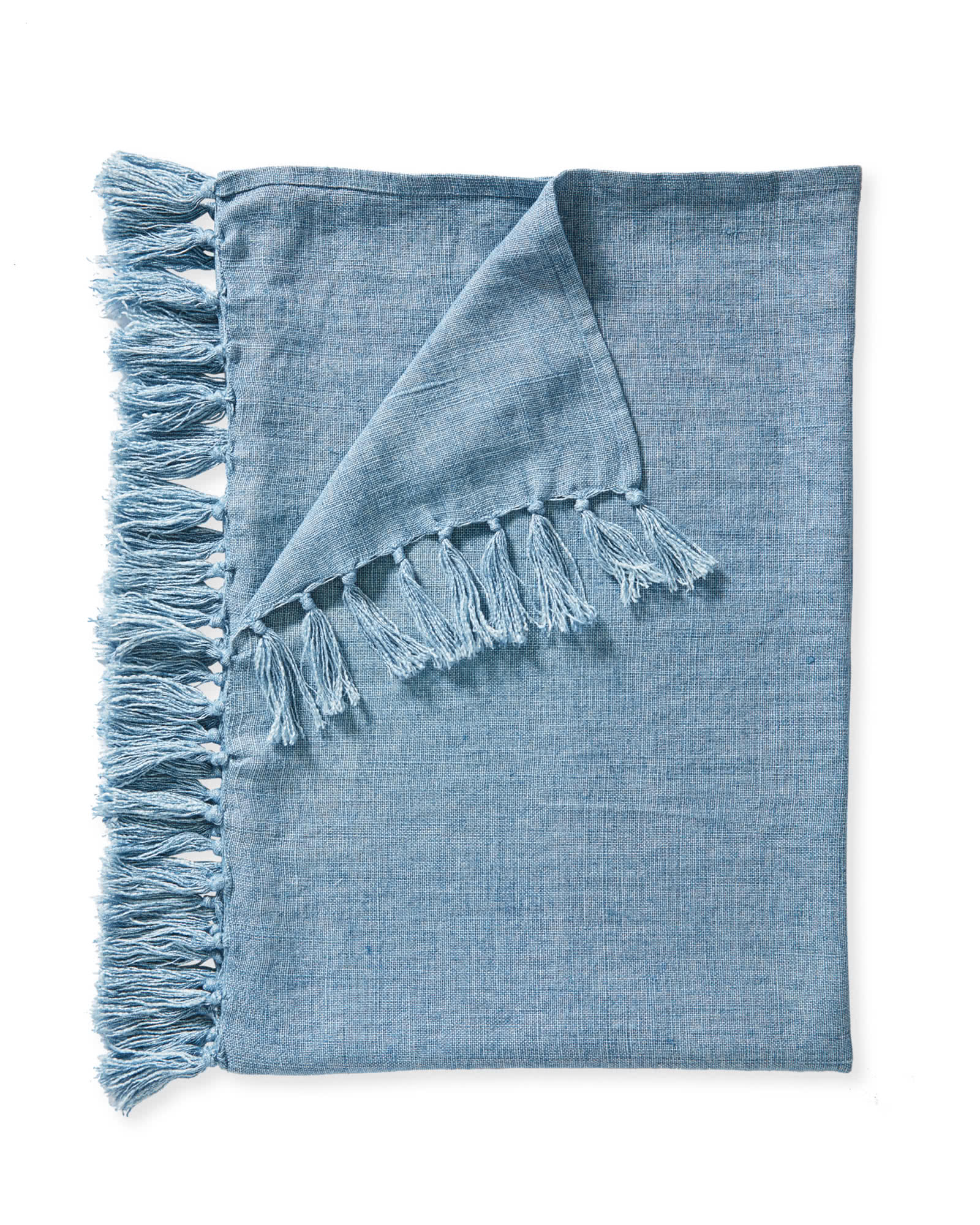 Mendocino Linen Throw, Coastal Blue