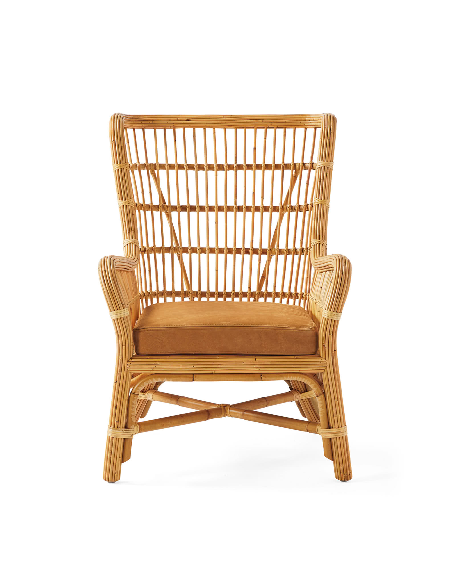 Bodega Bay Wing Chair, Tan Leather
