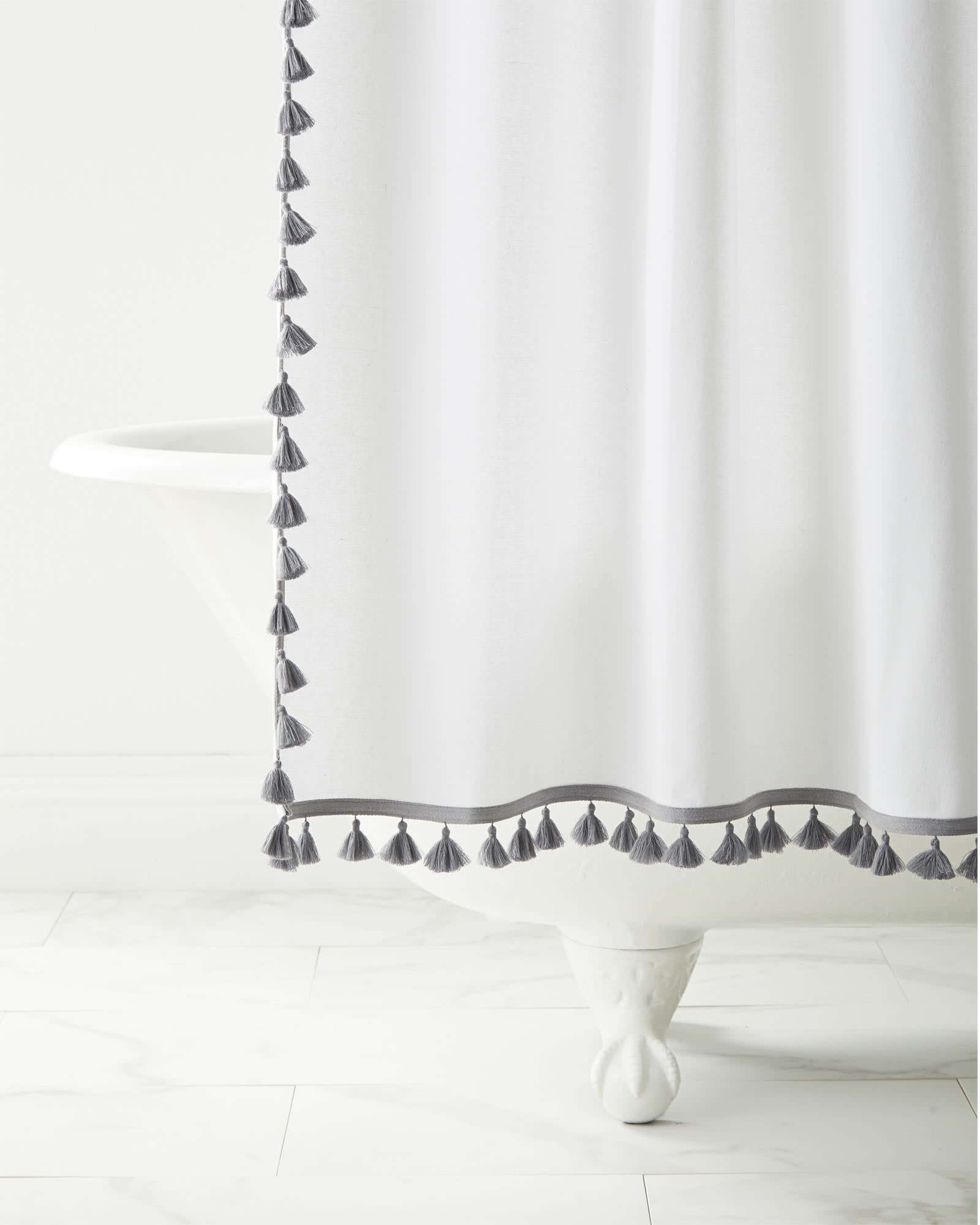 French Tassel Shower Curtain, Smoke