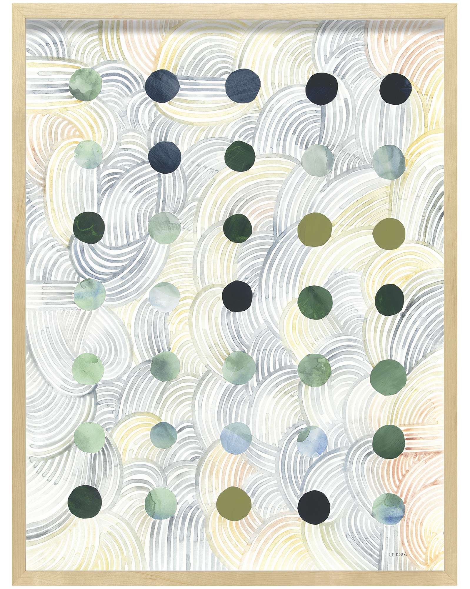 """""""Dots I"""" by Ruth Le Roux, Maple Frame"""