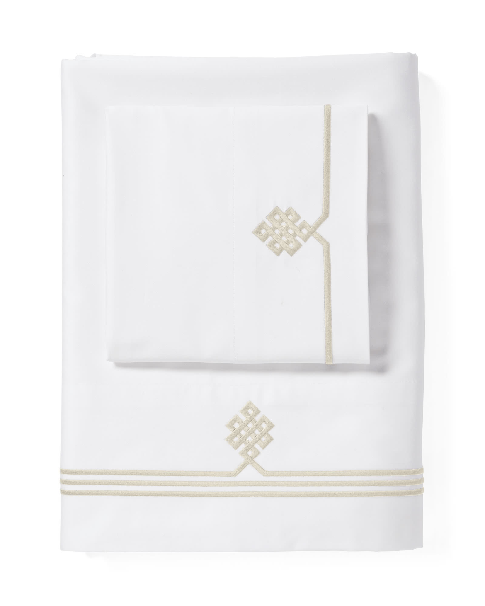 Gobi Embroidered Sheet Set, Sand