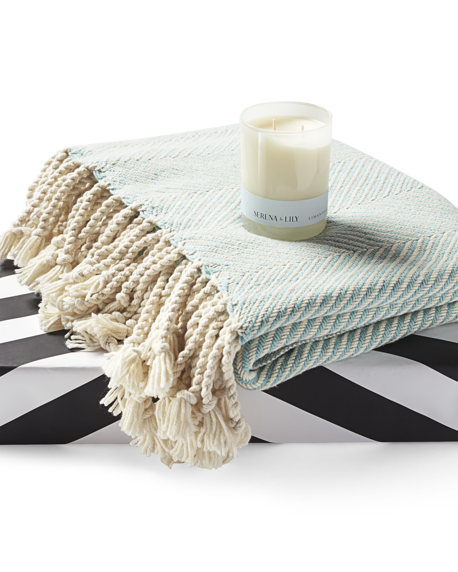 Amagansett Candle & Brahms Mount Herringbone Throw ...