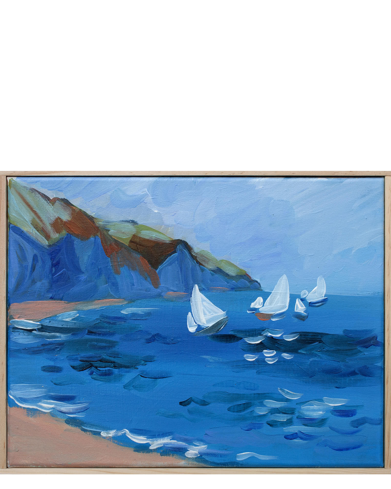 """""""Sailboats on a Royal Blue Sea"""" by Isabel Vexin,"""