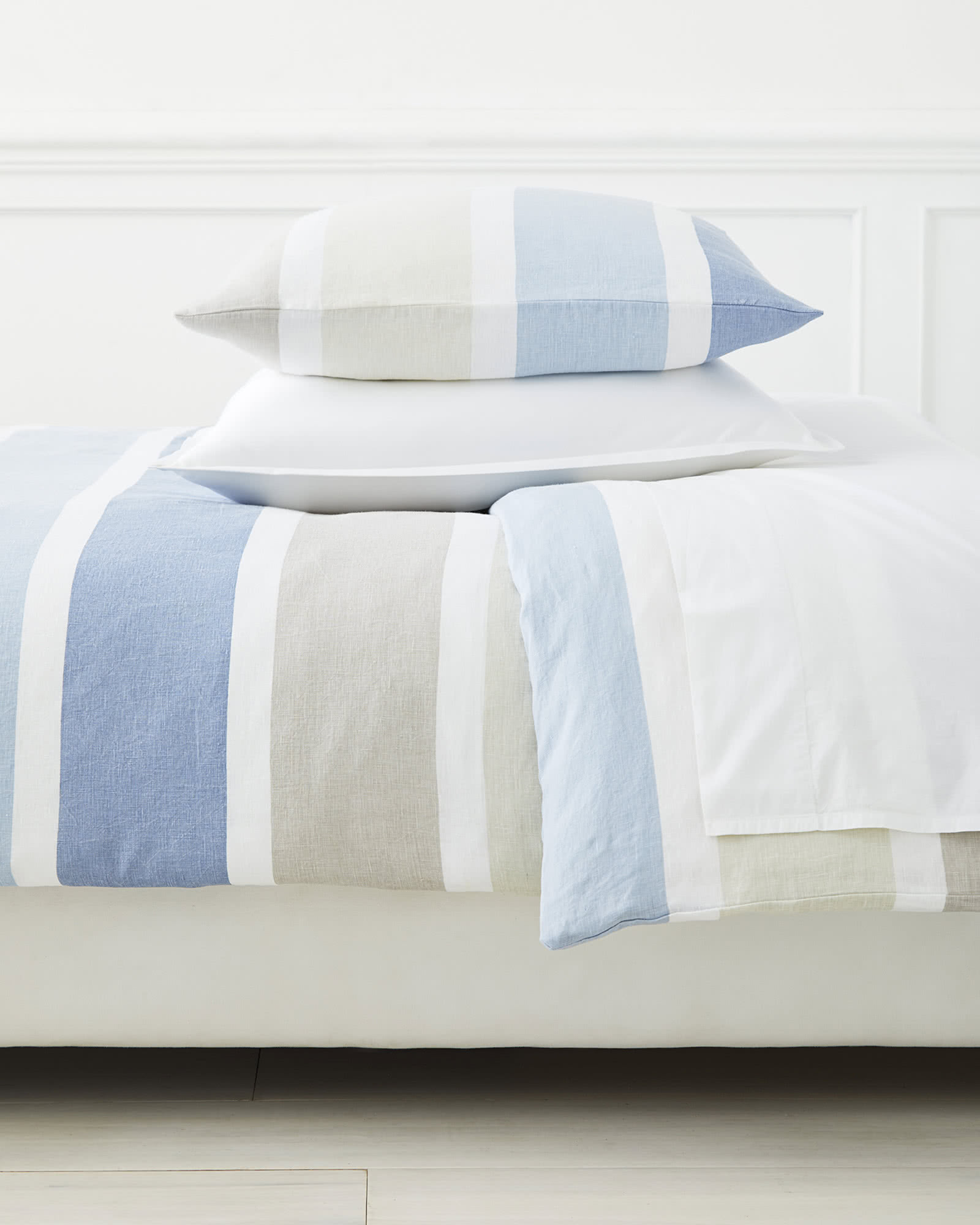 Coastal Stripe Linen Duvet Cover,
