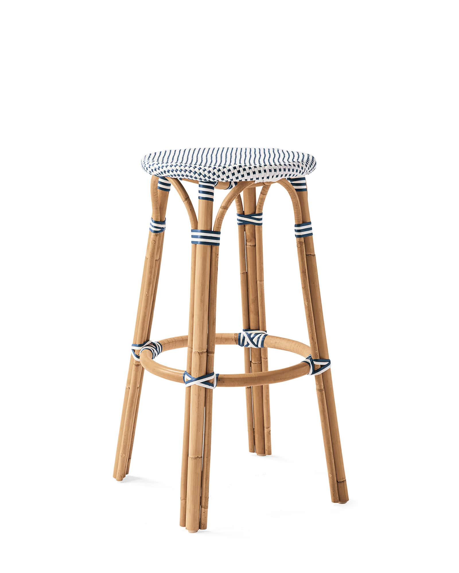 Riviera Backless Barstool, Navy/White