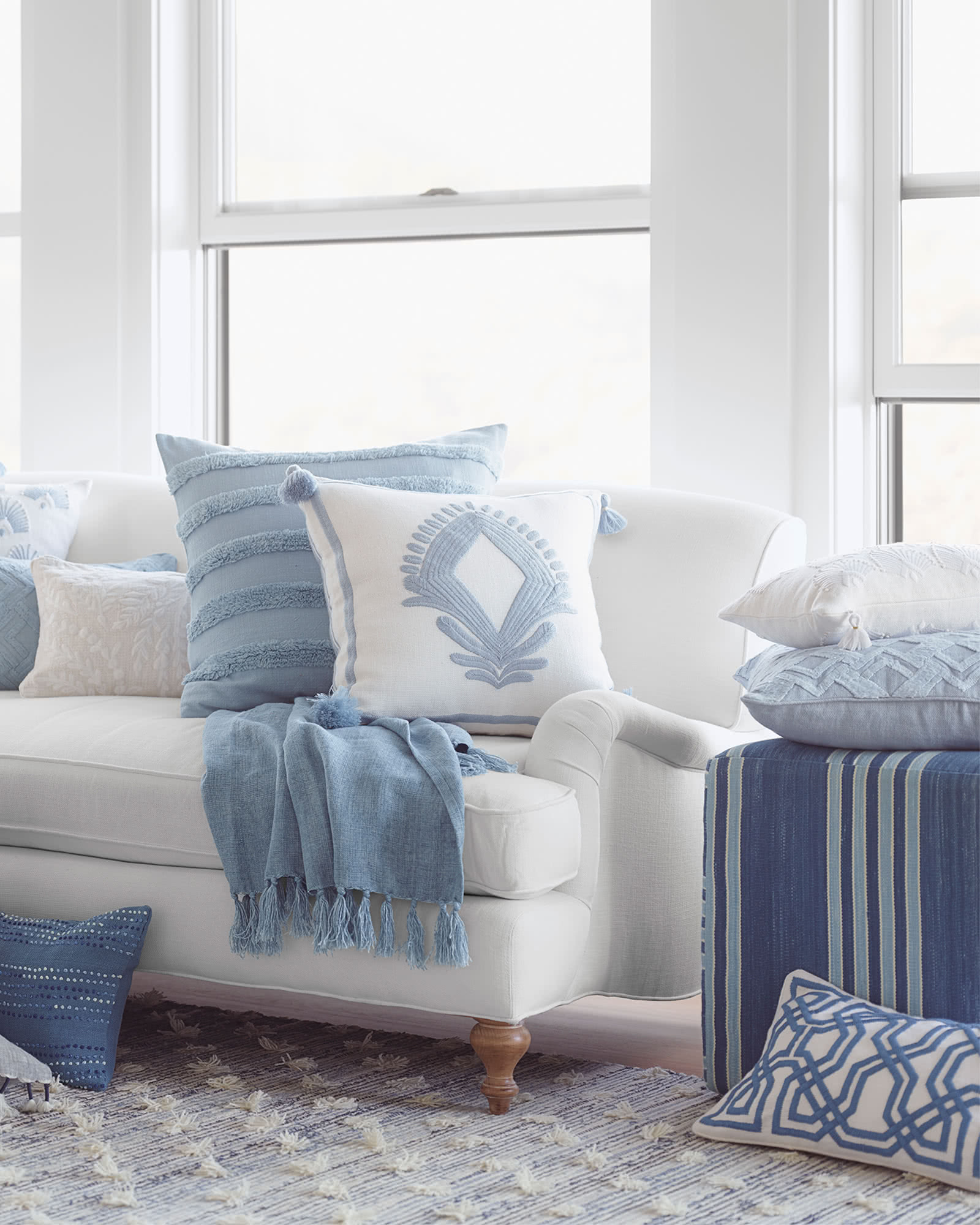 Lincoln Pillow Cover, Coastal Blue