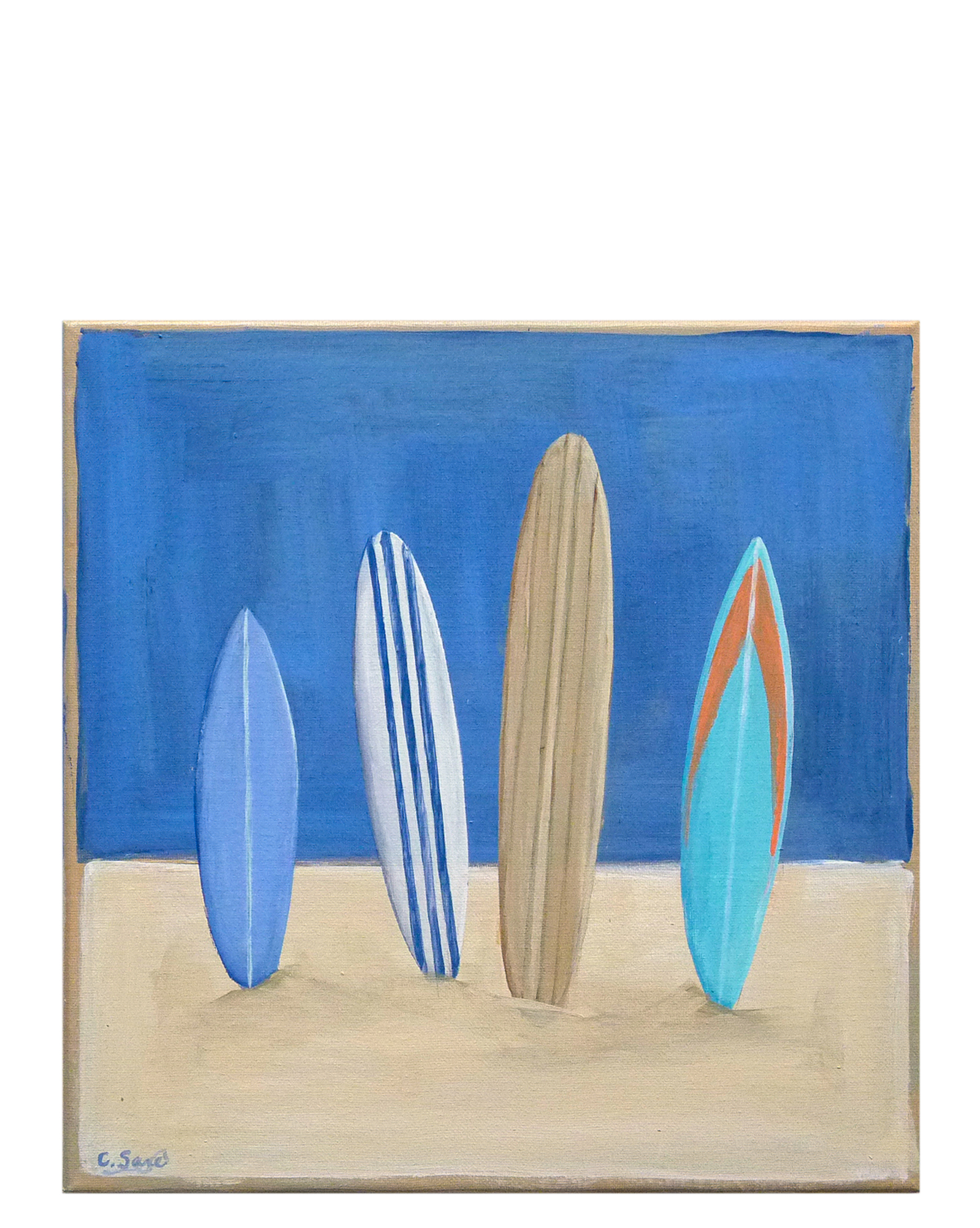 """Surfboards on the Beach"" by Carol Saxe,"