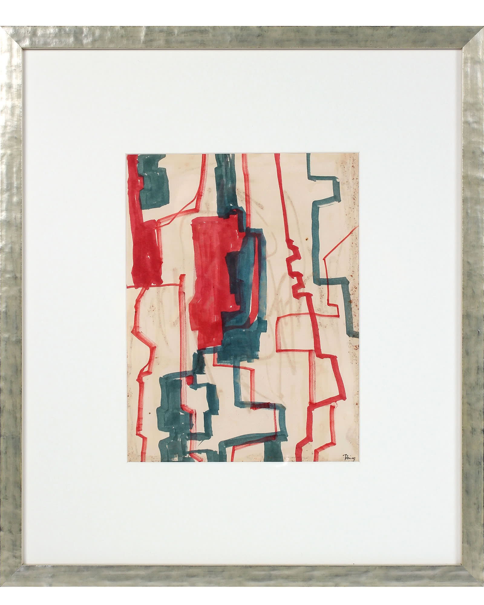 """Geometric Abstract in Red & Blue"" by Raphael Roig,"