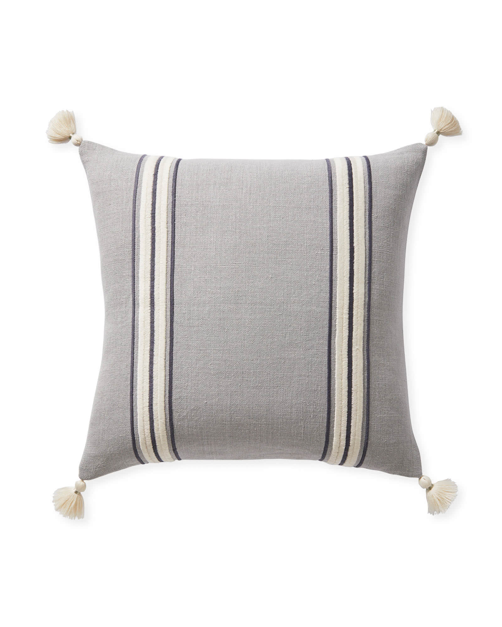 Addie Stripe Tassel Pillow Cover, Smoke