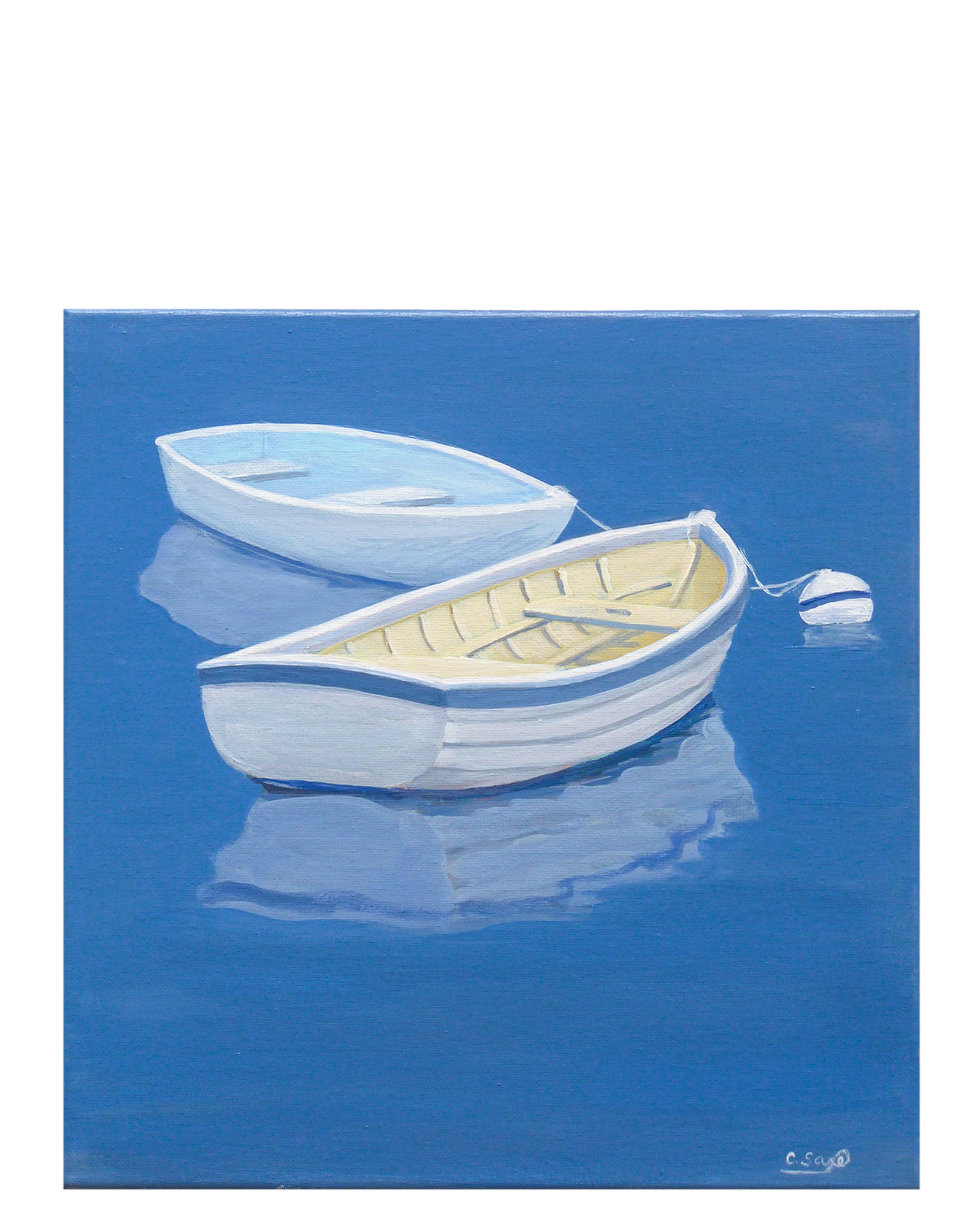 """Moored Dinghies"" by Carol Saxe,"