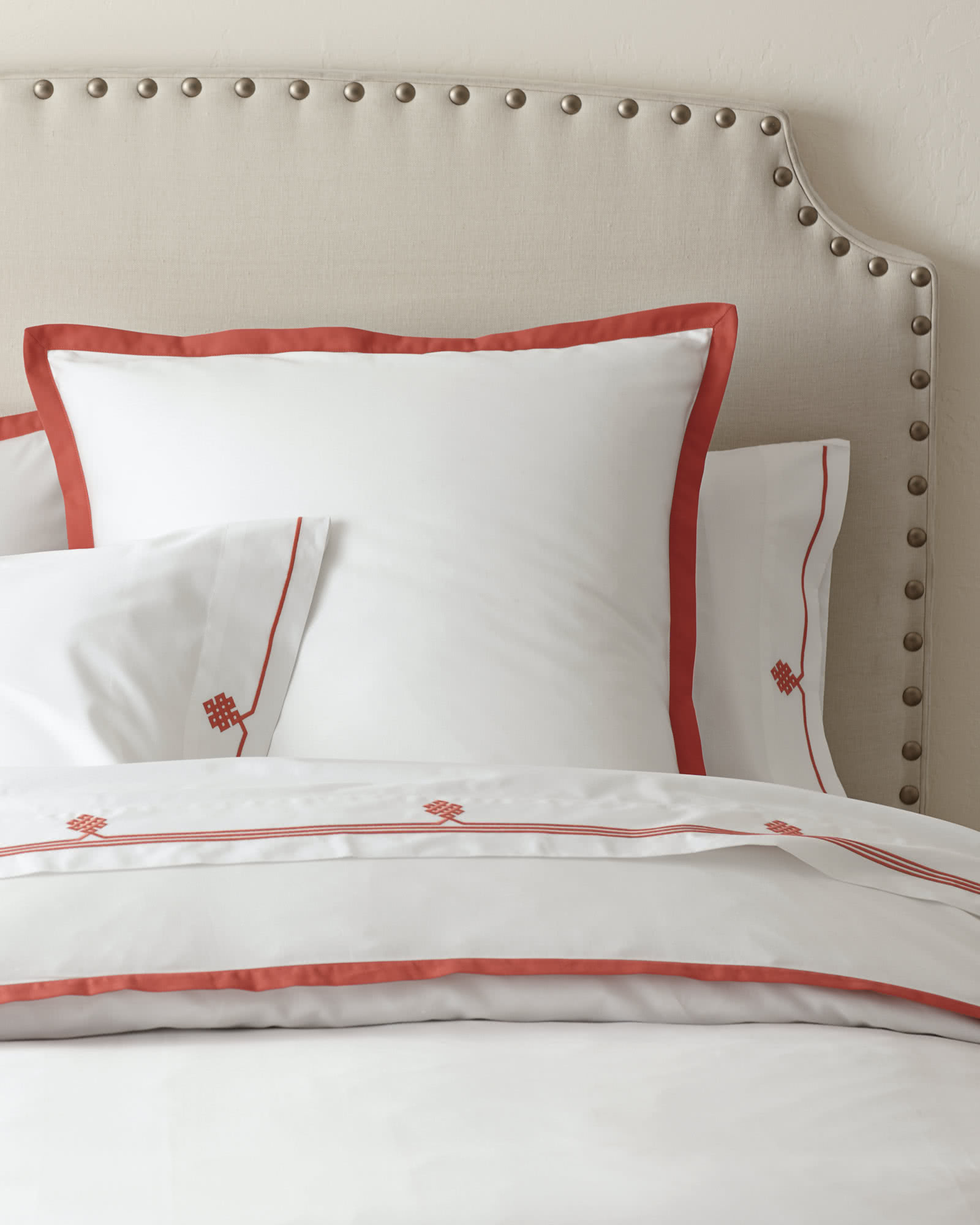 Gobi Embroidered Sheet Set, Coral