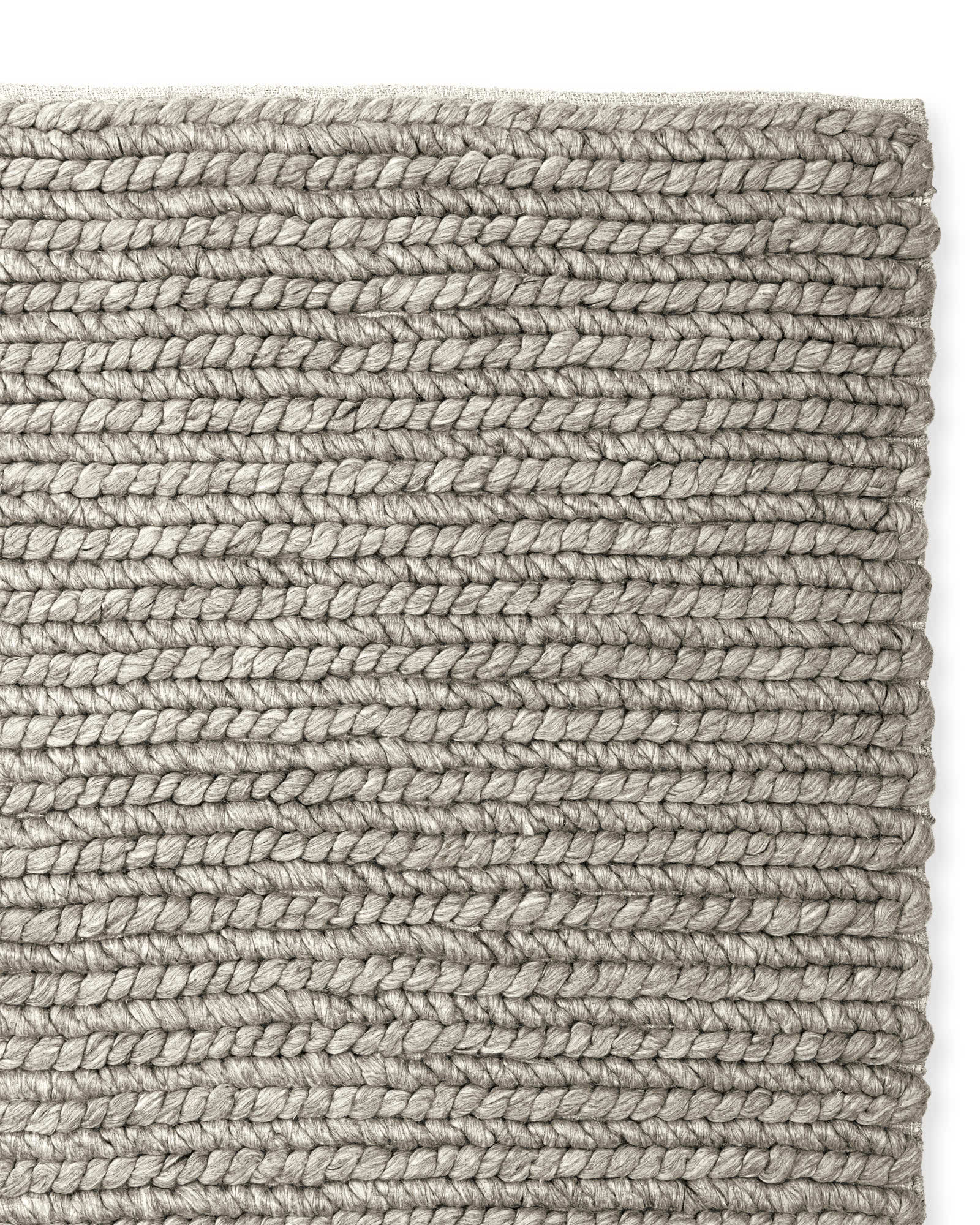 Braided Wool Rug, Heathered Grey